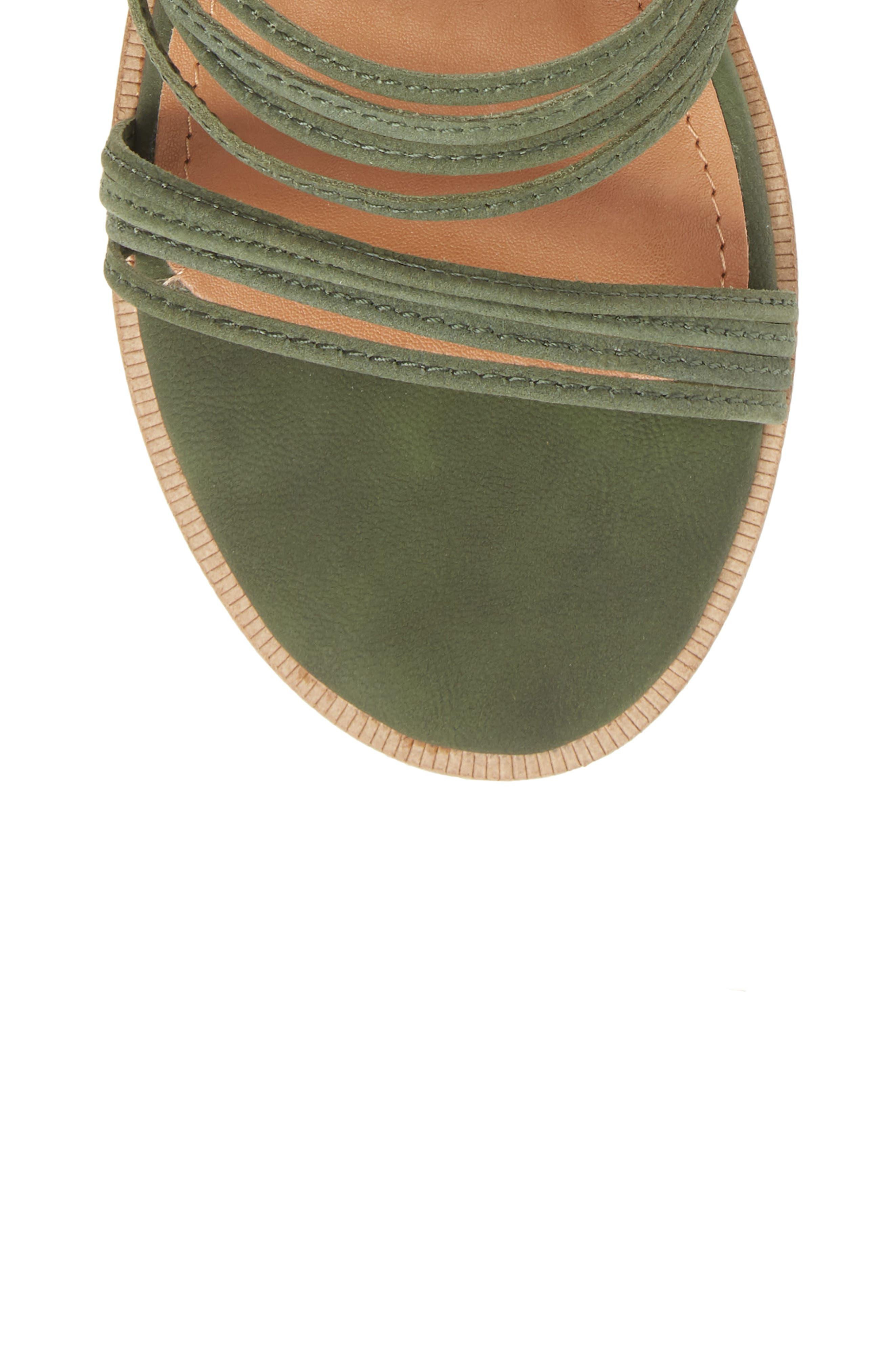 Theory Strappy Flat Sandal,                             Alternate thumbnail 5, color,                             Khaki Leather