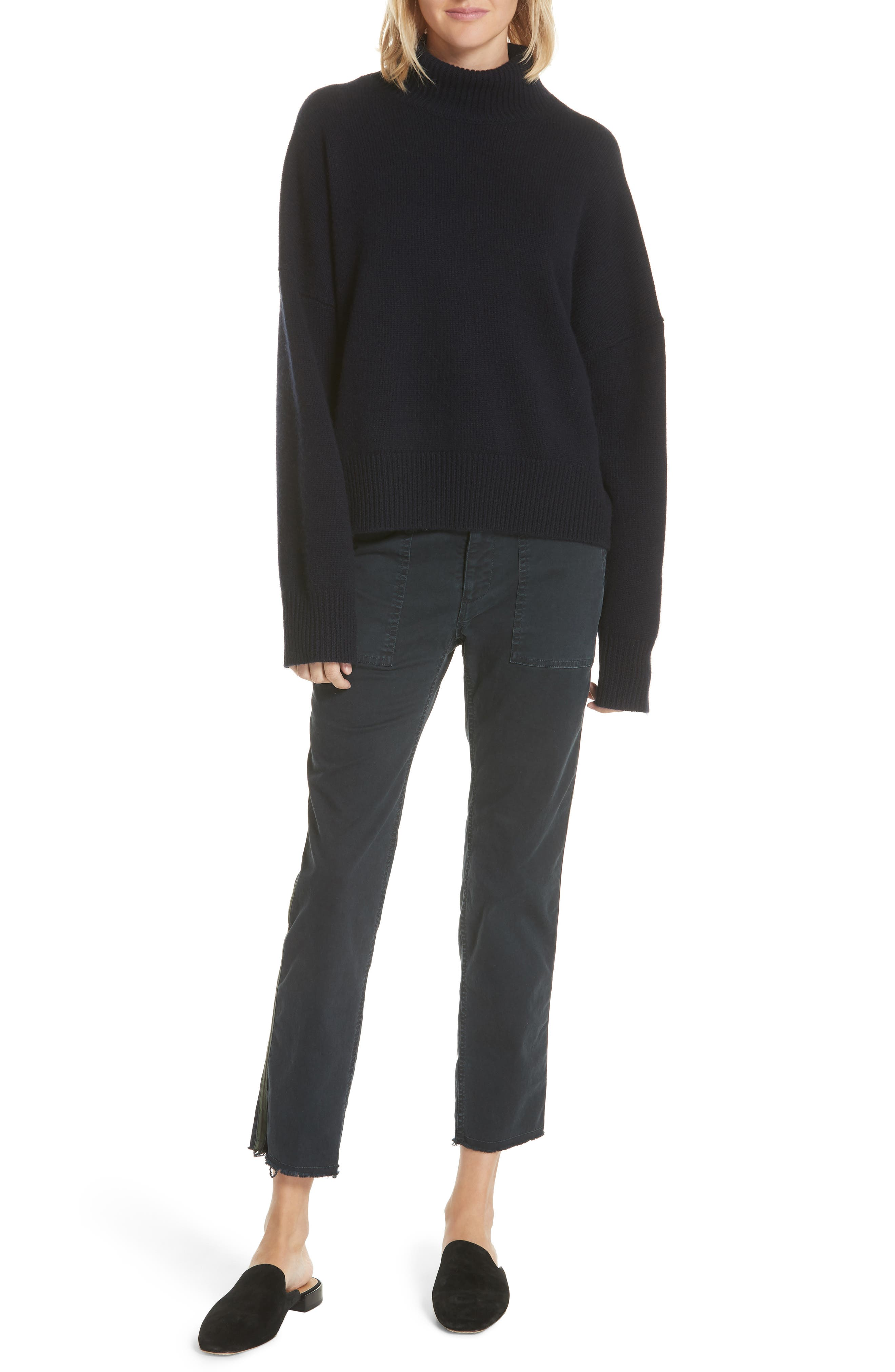 Serinda Wool & Cashmere Turtleneck Sweater,                             Alternate thumbnail 7, color,                             Dark Navy
