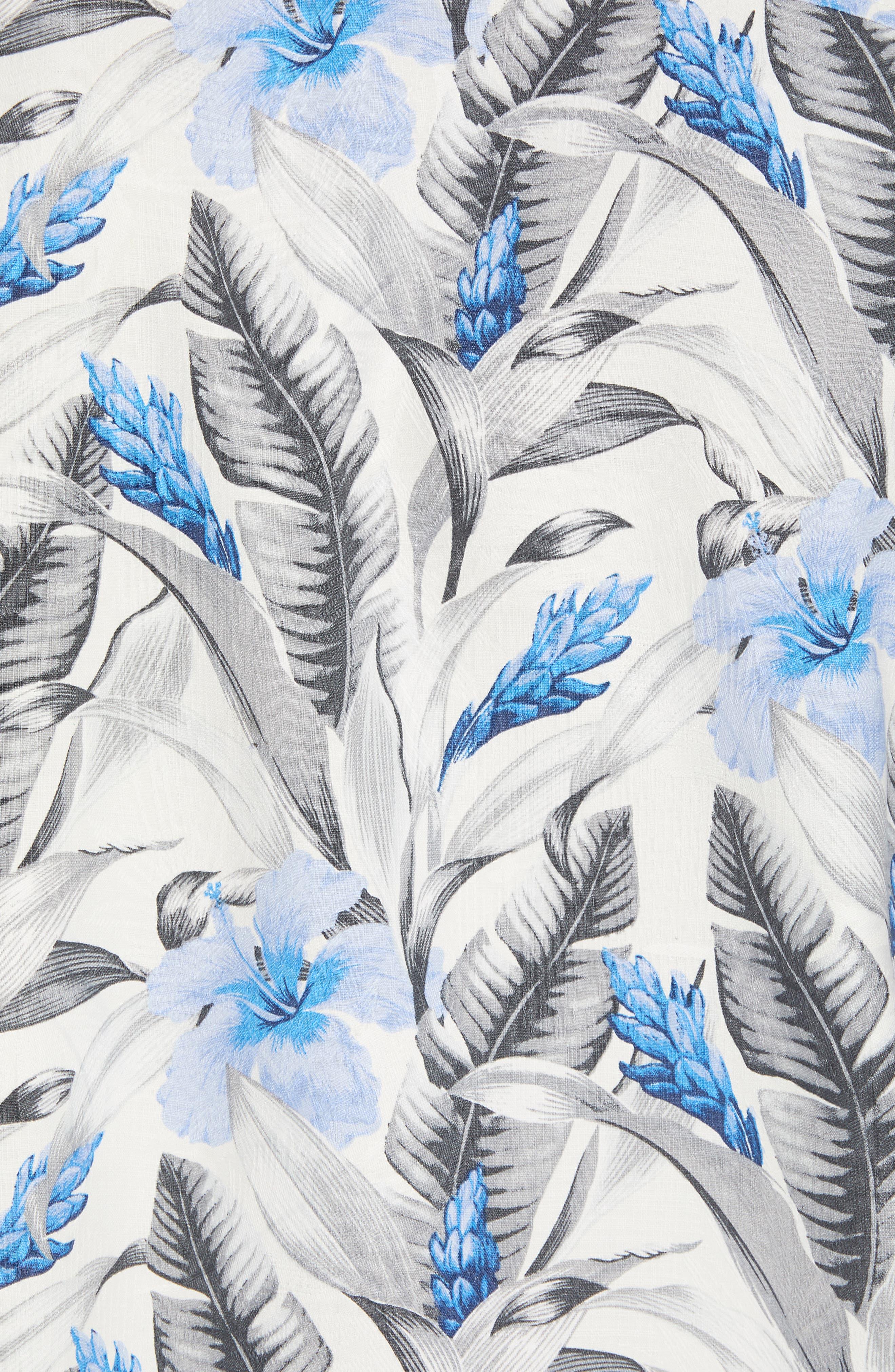 Tulum Bloom Silk Camp Shirt,                             Alternate thumbnail 5, color,                             Marble Cream