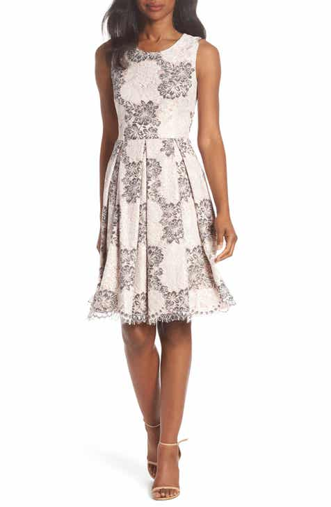 ed60f3b44e Eliza J Sleeveless Lace Fit   Flare Dress (Regular   Petite)