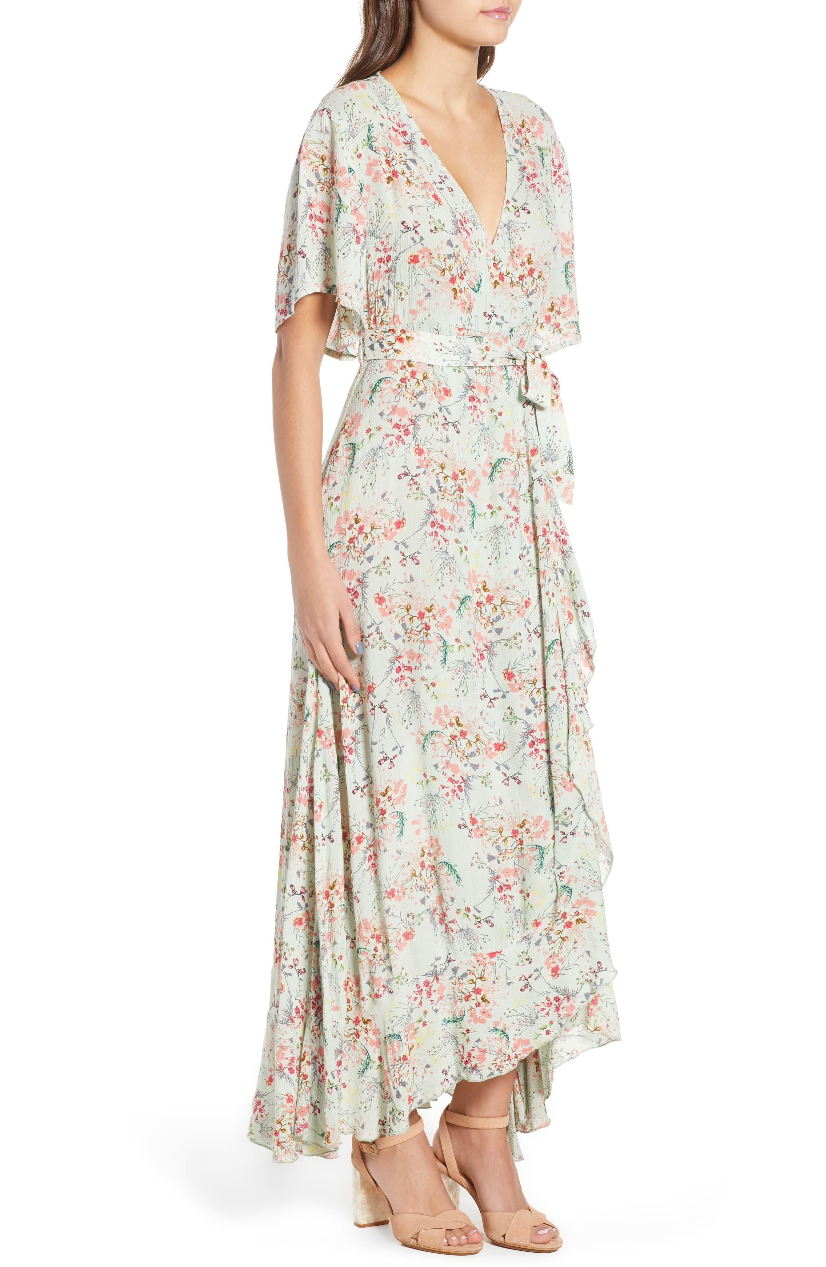 Secret Escape Floral Faux Wrap Maxi Dress,                             Alternate thumbnail 4, color,                             Sage