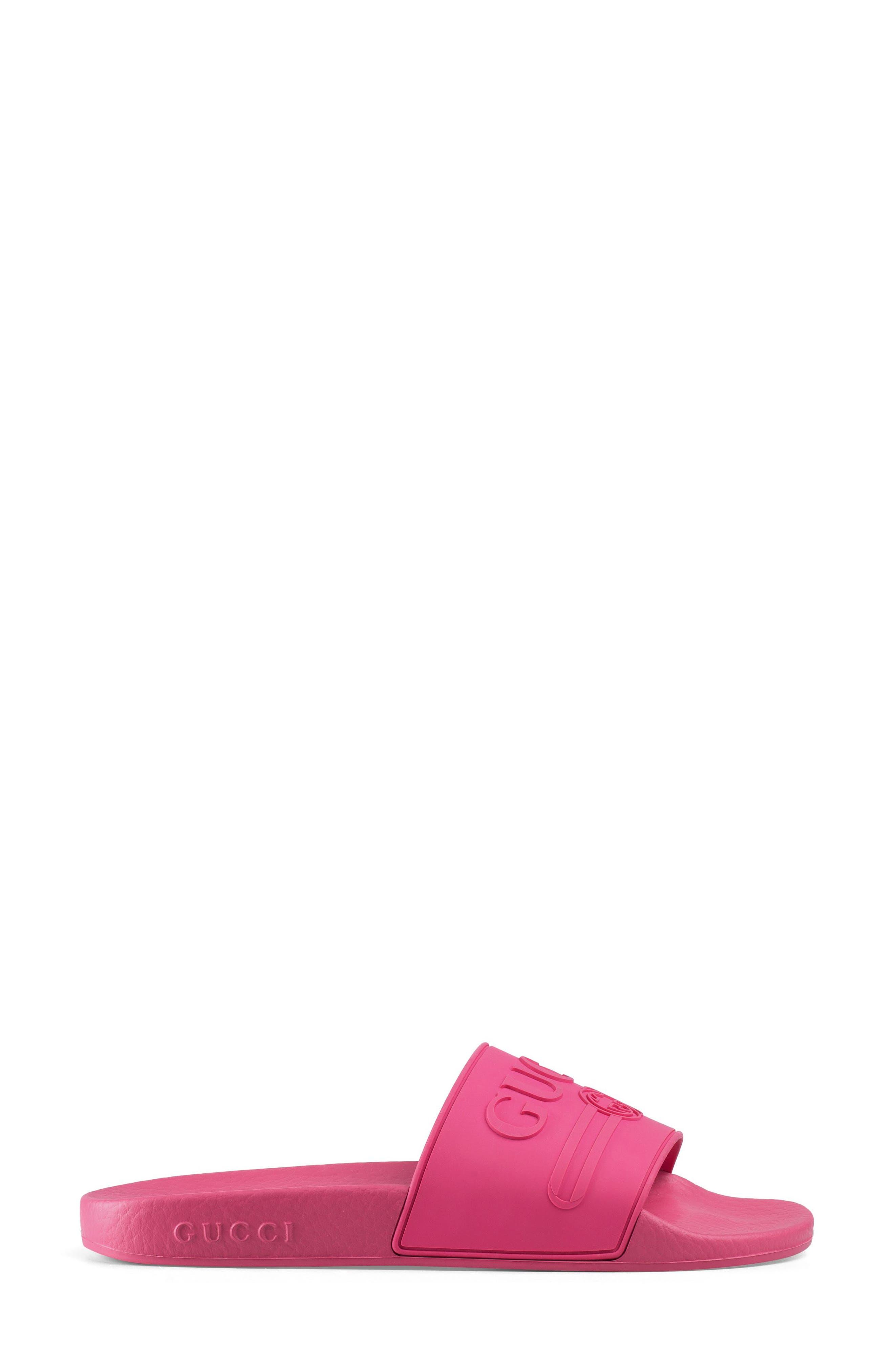 Logo Slide Sandal,                             Alternate thumbnail 2, color,                             Fuchsia