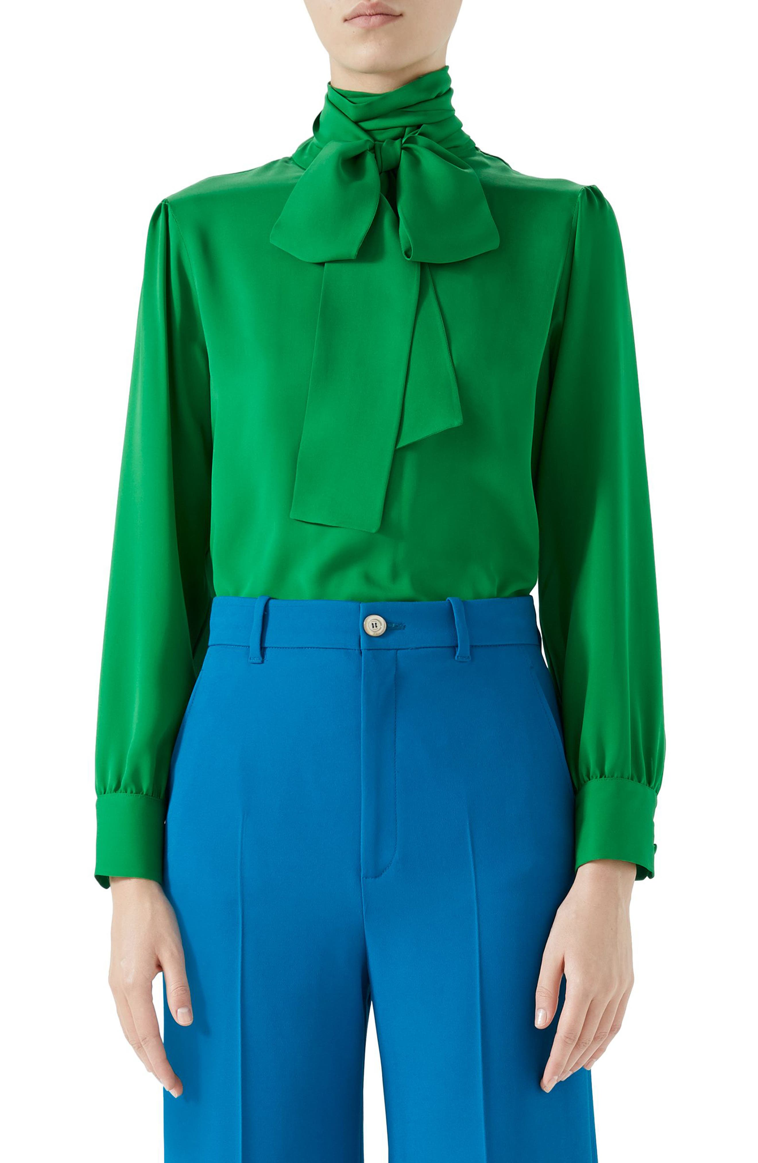 Silk Tie Neck Blouse,                             Main thumbnail 1, color,                             Tropical Green