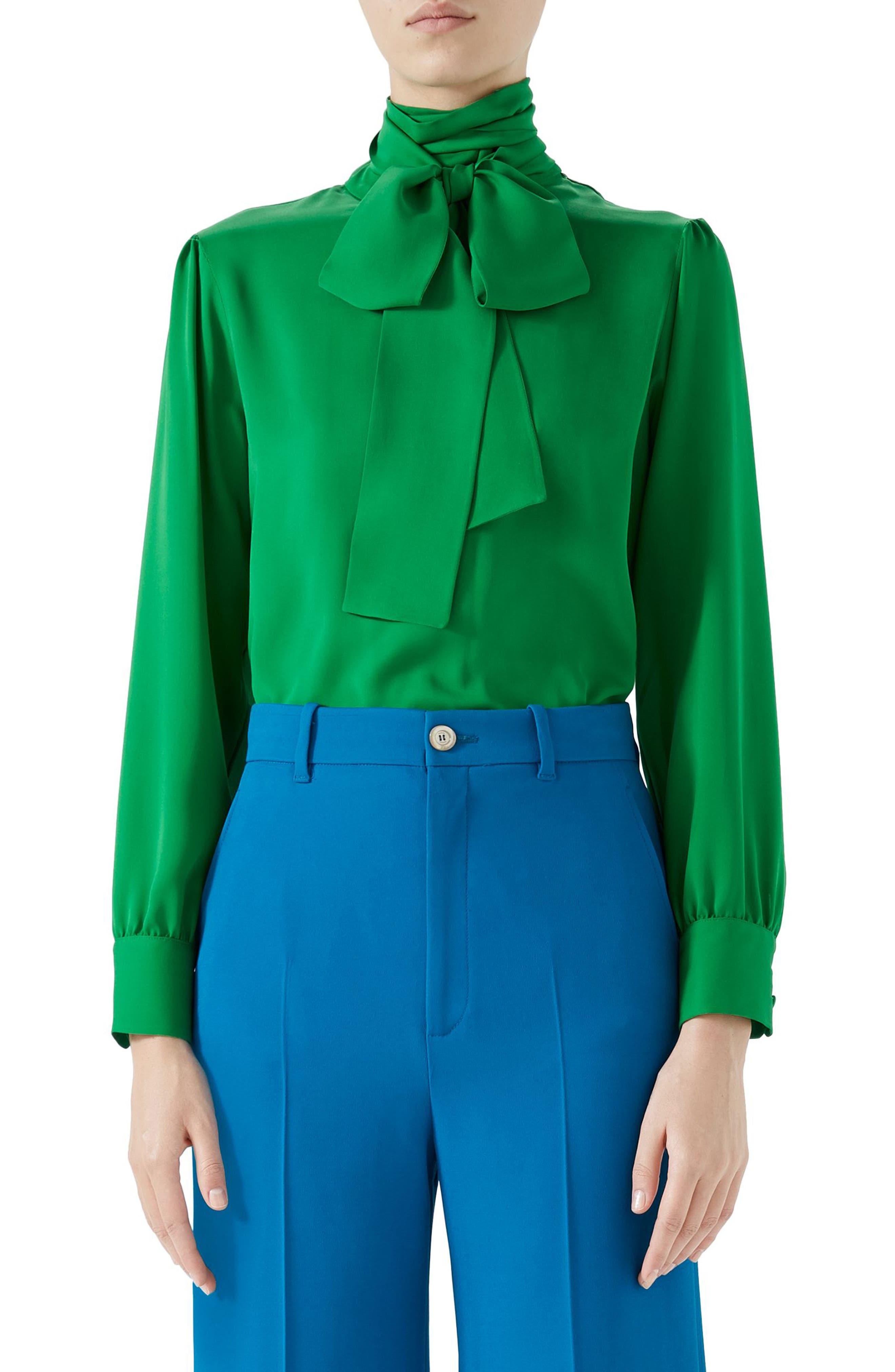 Silk Tie Neck Blouse,                         Main,                         color, Tropical Green