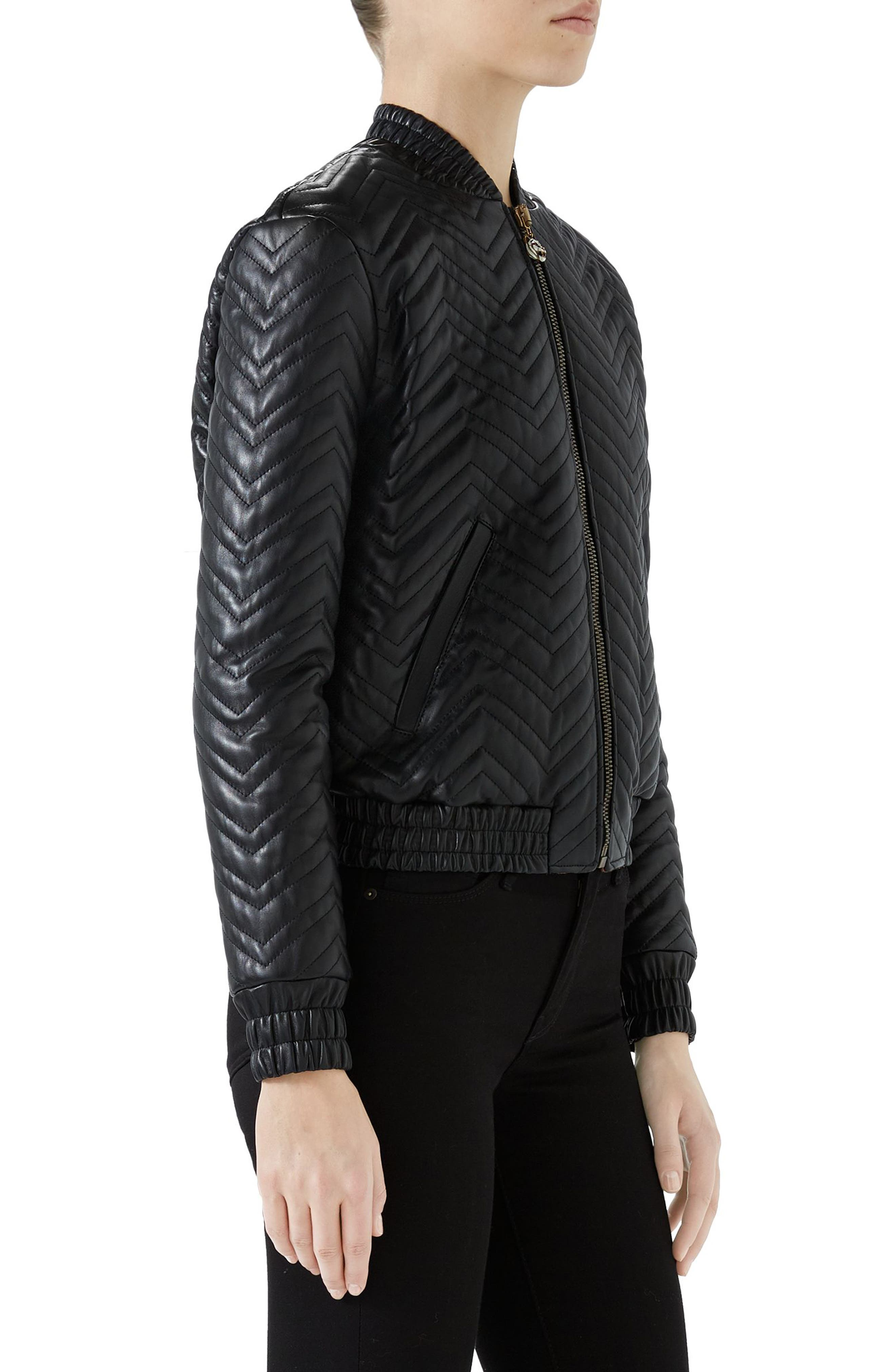 Quilted Leather Bomber Jacket,                             Alternate thumbnail 3, color,                             Black