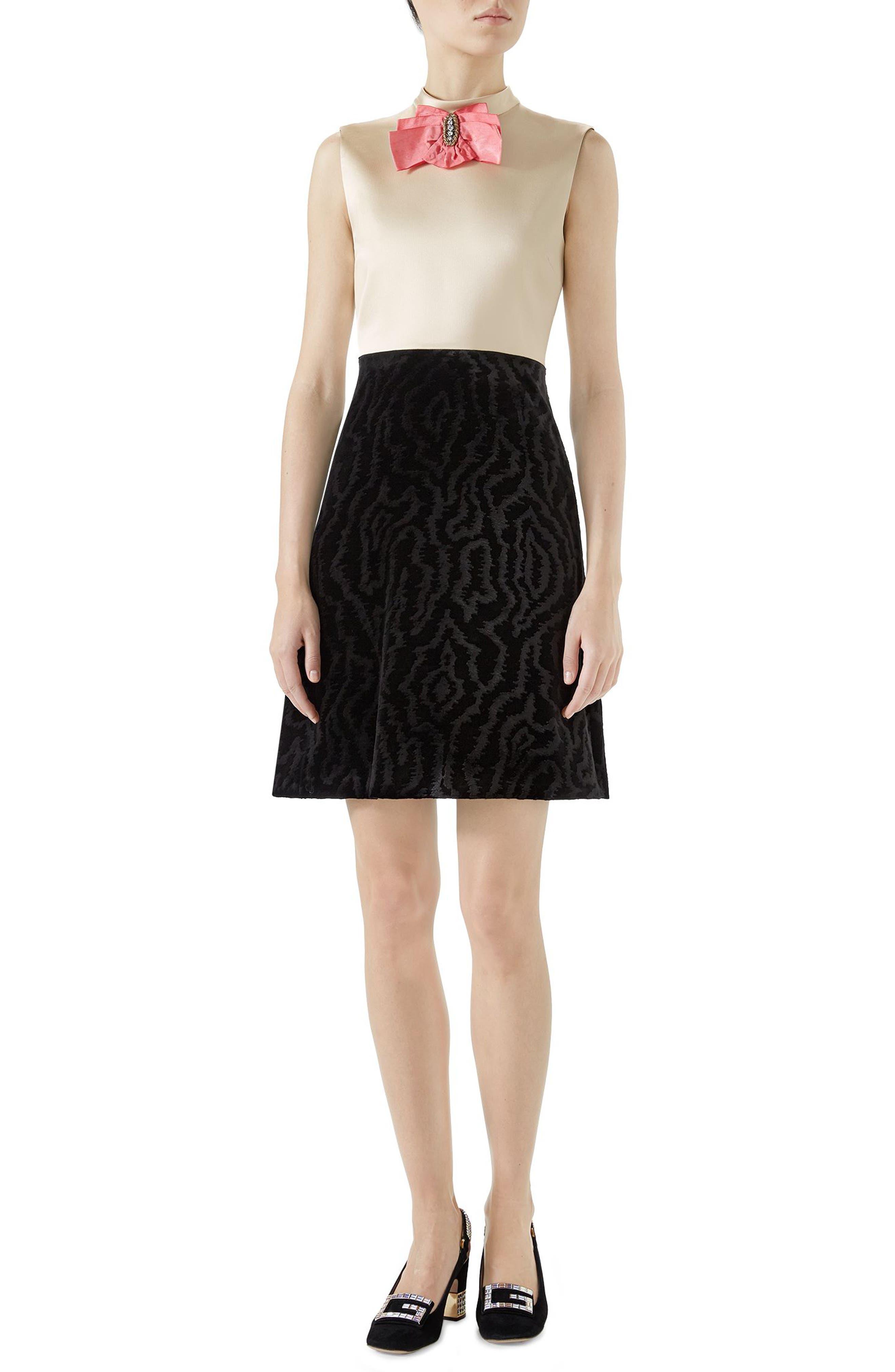 Bow Embellished Satin A-Line Dress,                             Main thumbnail 1, color,                             Black