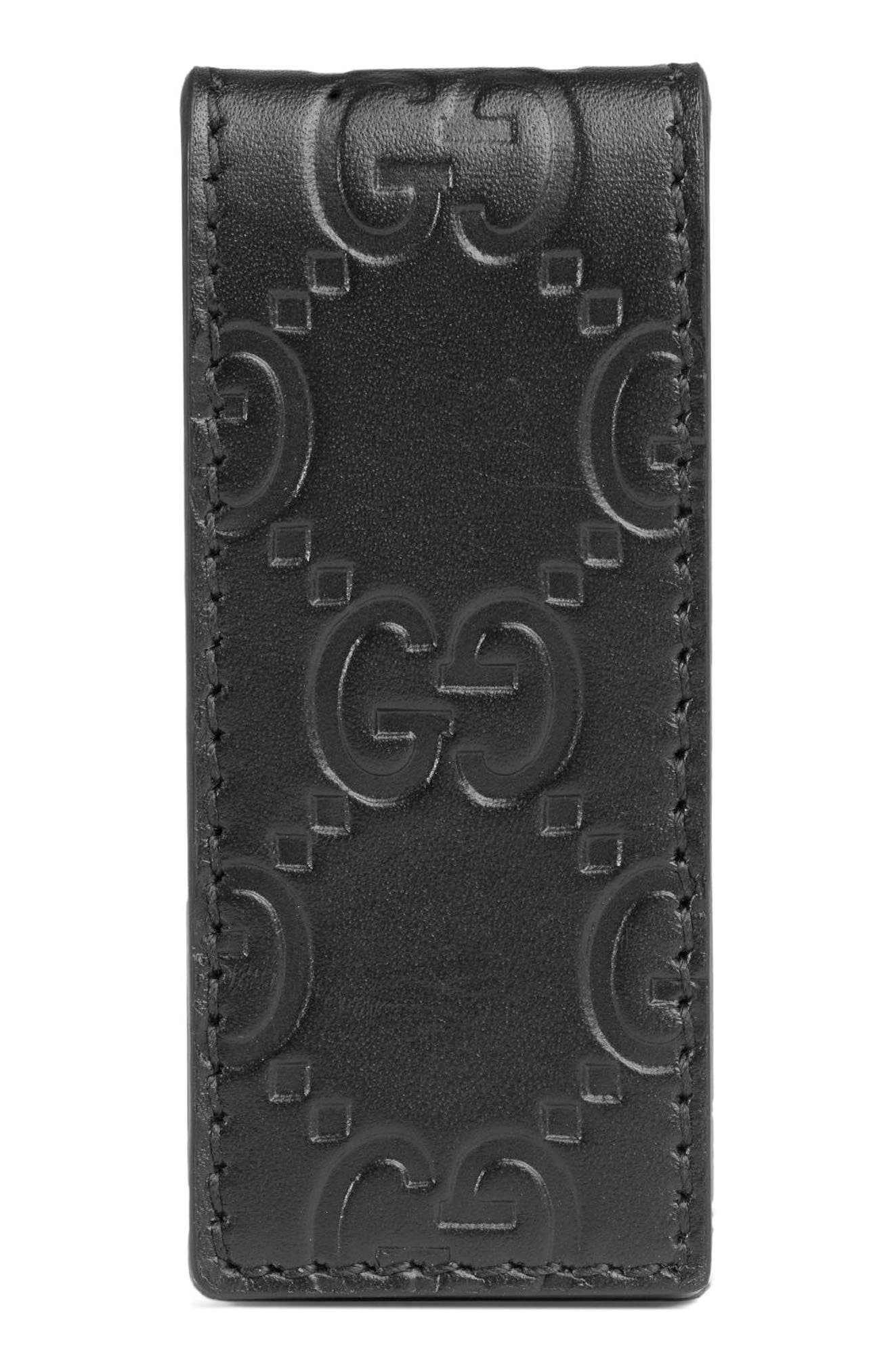 GG Signature Leather Money Clip,                             Alternate thumbnail 2, color,                             Black