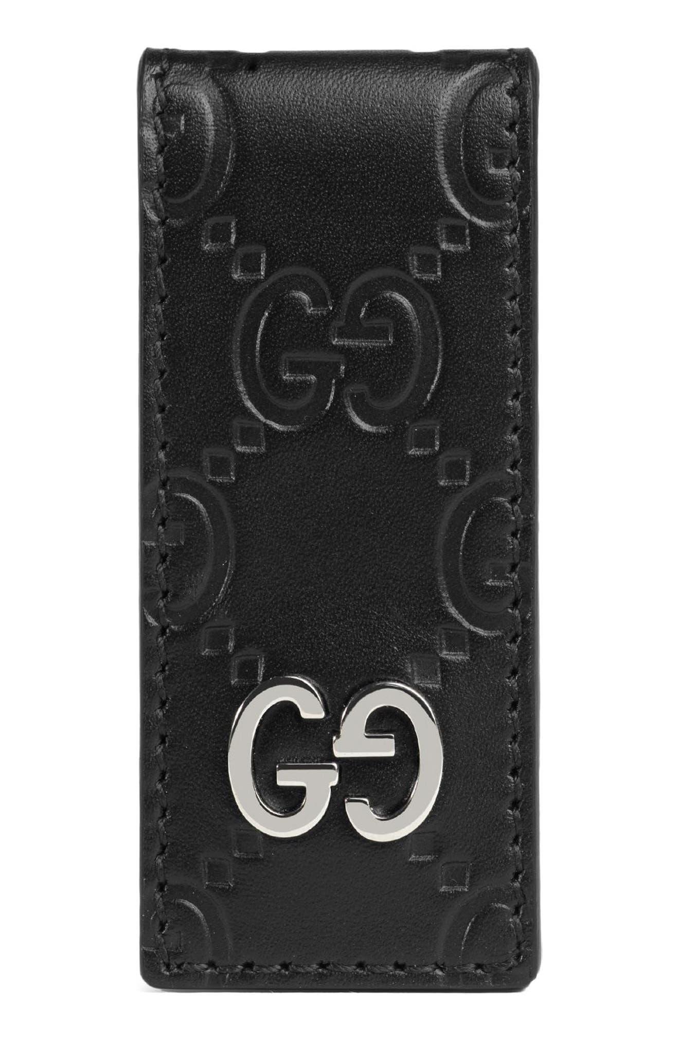GG Signature Leather Money Clip,                         Main,                         color, Black