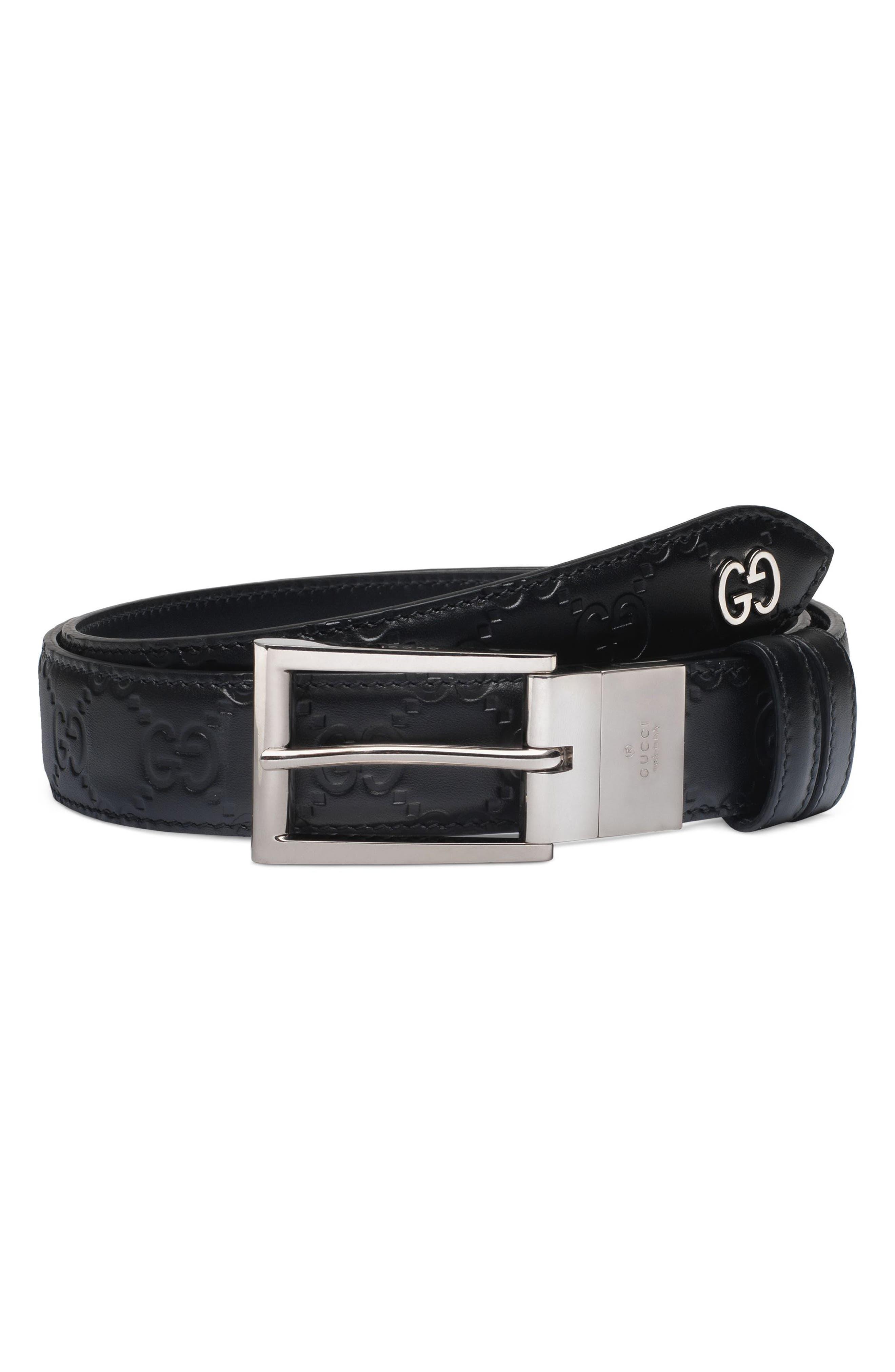 Reversible Signature Leather Belt,                         Main,                         color, Black