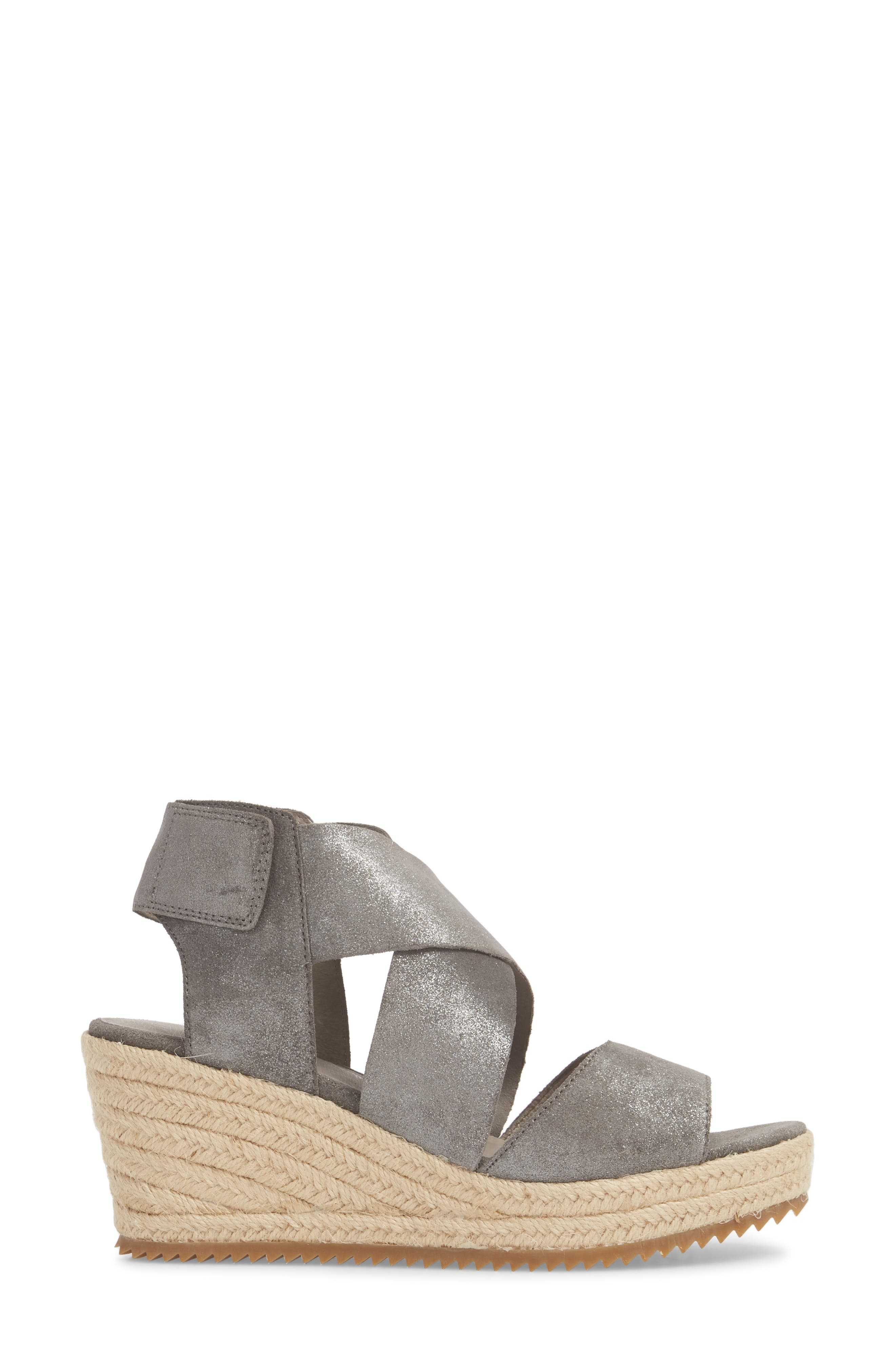 'Willow' Espadrille Wedge Sandal,                             Alternate thumbnail 3, color,                             Pewter Metallic Suede