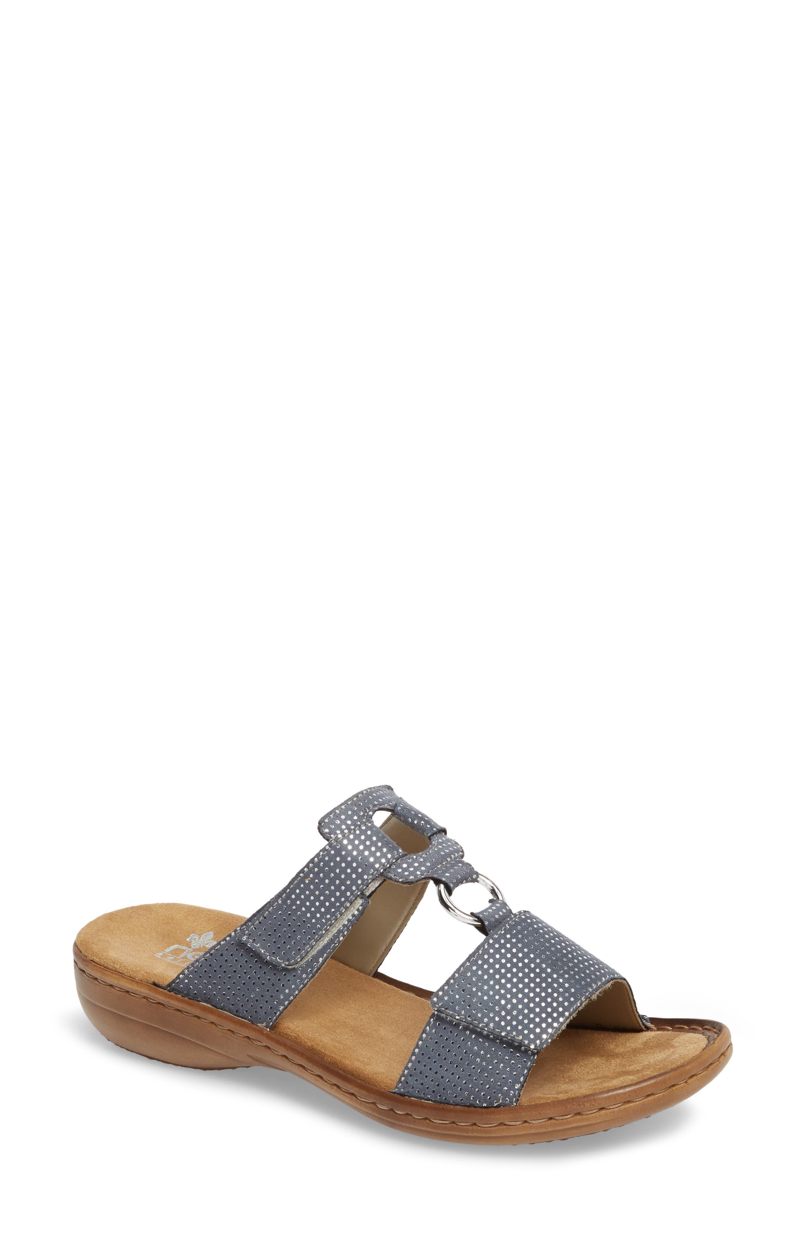 Regina P9 Slide Sandal,                         Main,                         color, White Denim Fabric