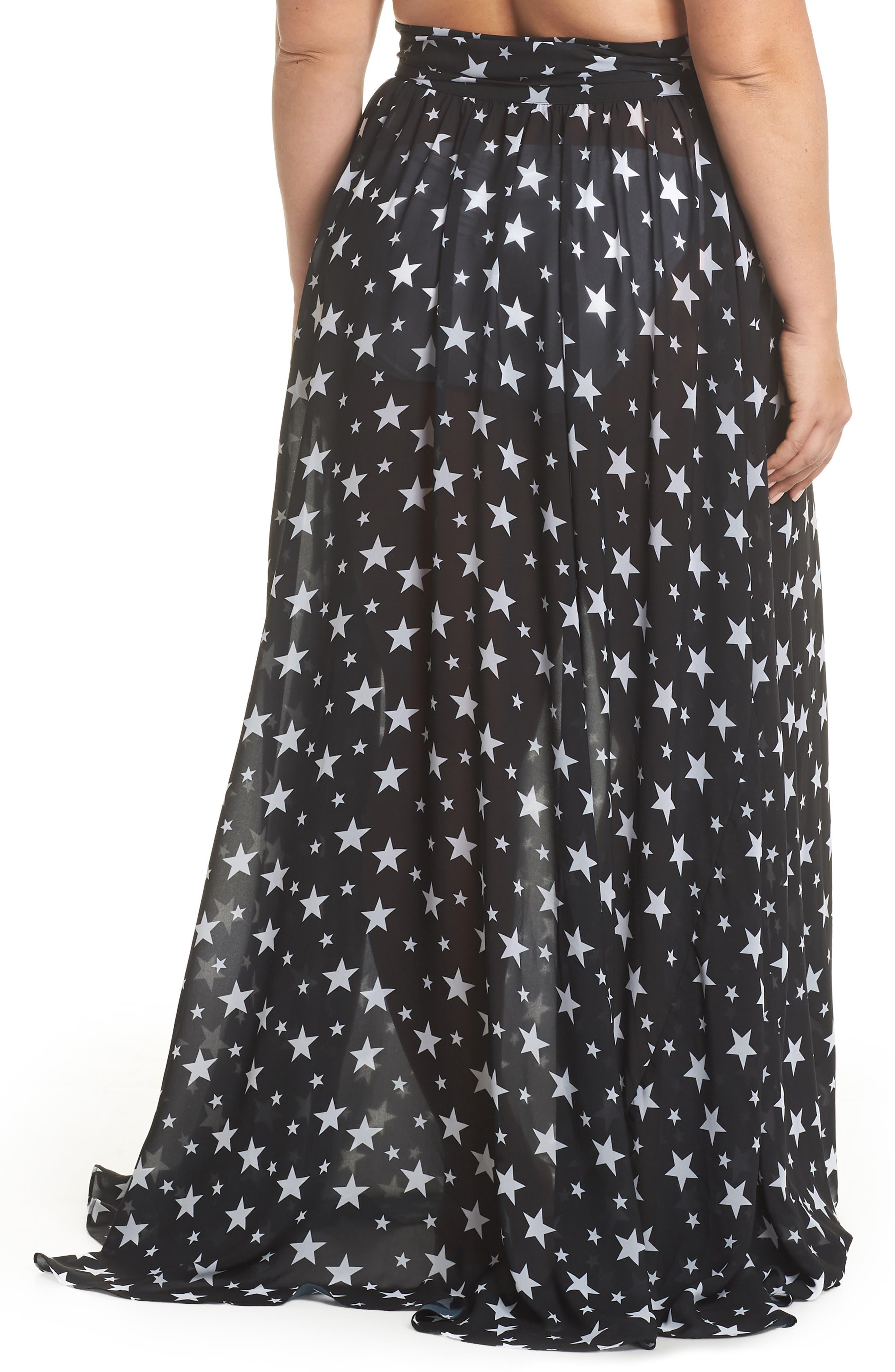 Cannes Cover-Up Skirt,                             Alternate thumbnail 2, color,                             Black Star