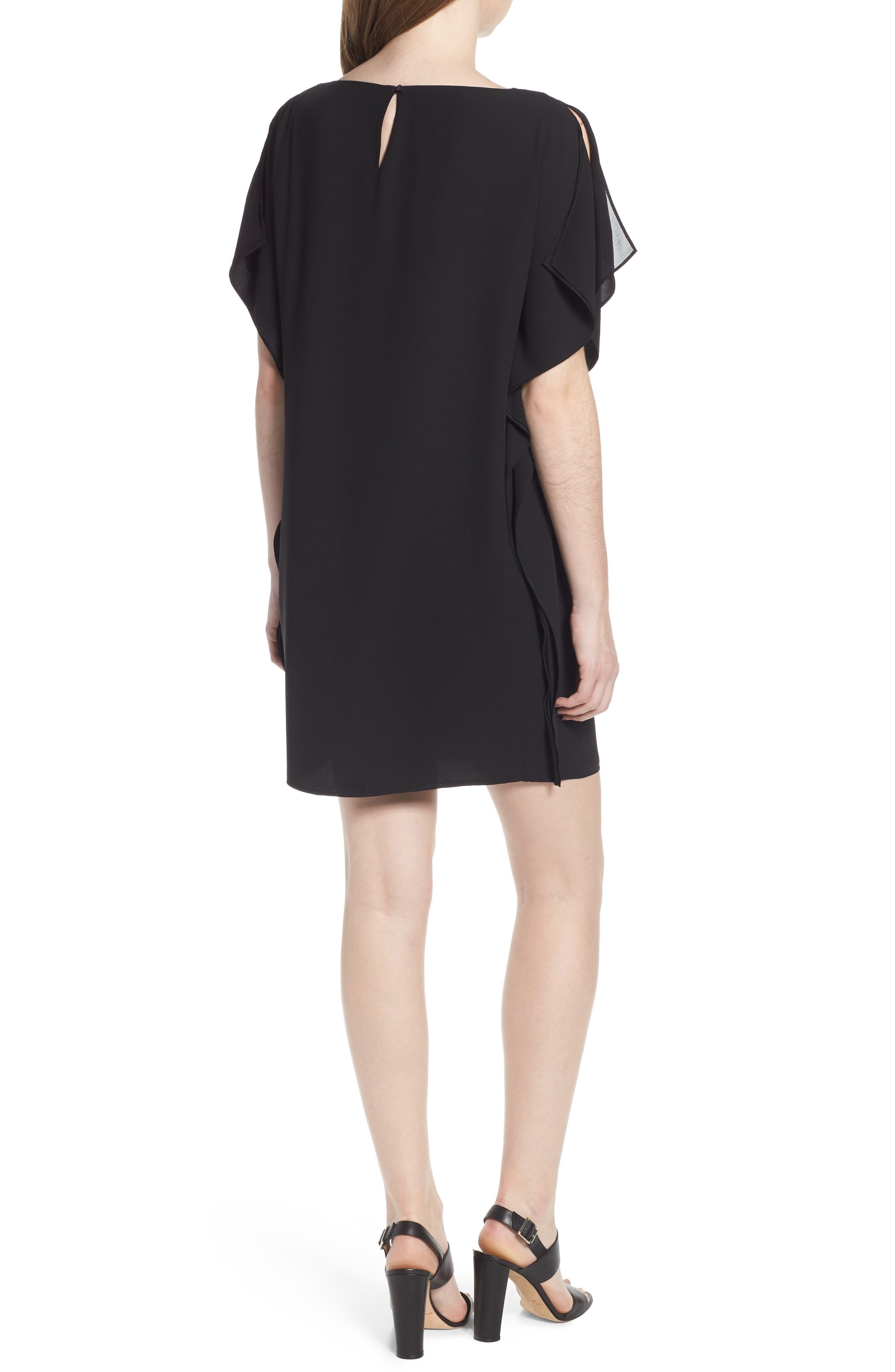 Flutter Sleeve Dress,                             Alternate thumbnail 2, color,                             Black