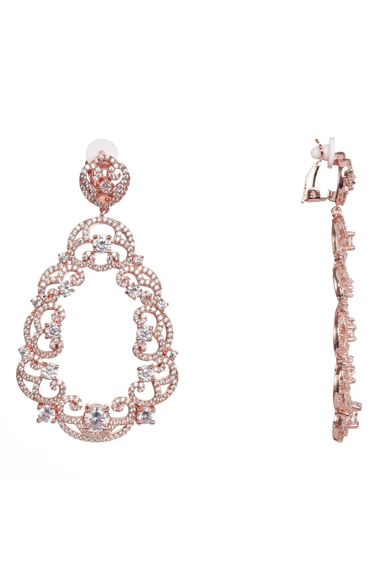 Scroll Pavé Earrings,                         Main,                         color, White/ Rose Gold