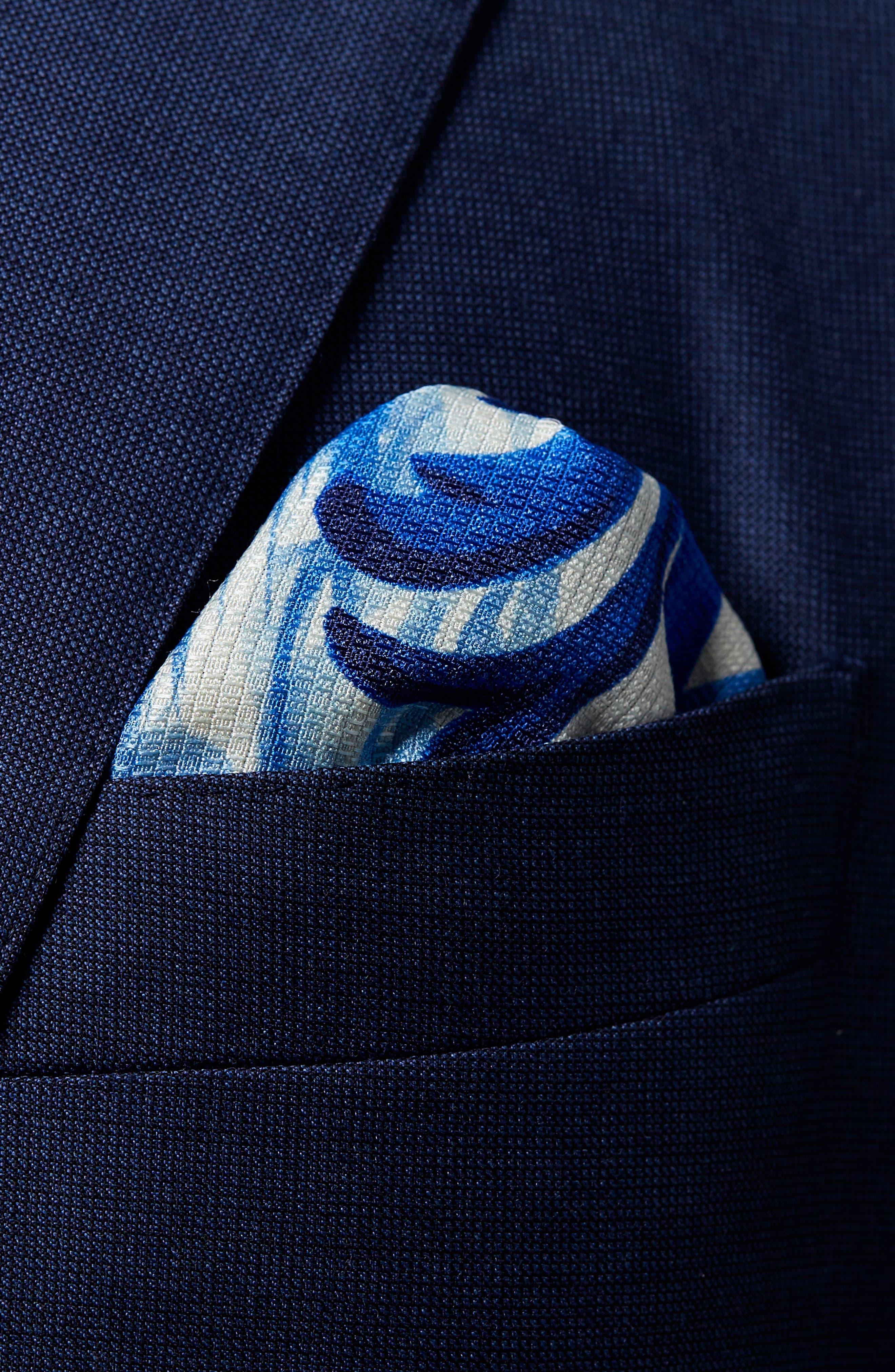 Geometric Ship Silk Pocket Square,                             Alternate thumbnail 2, color,                             Blue