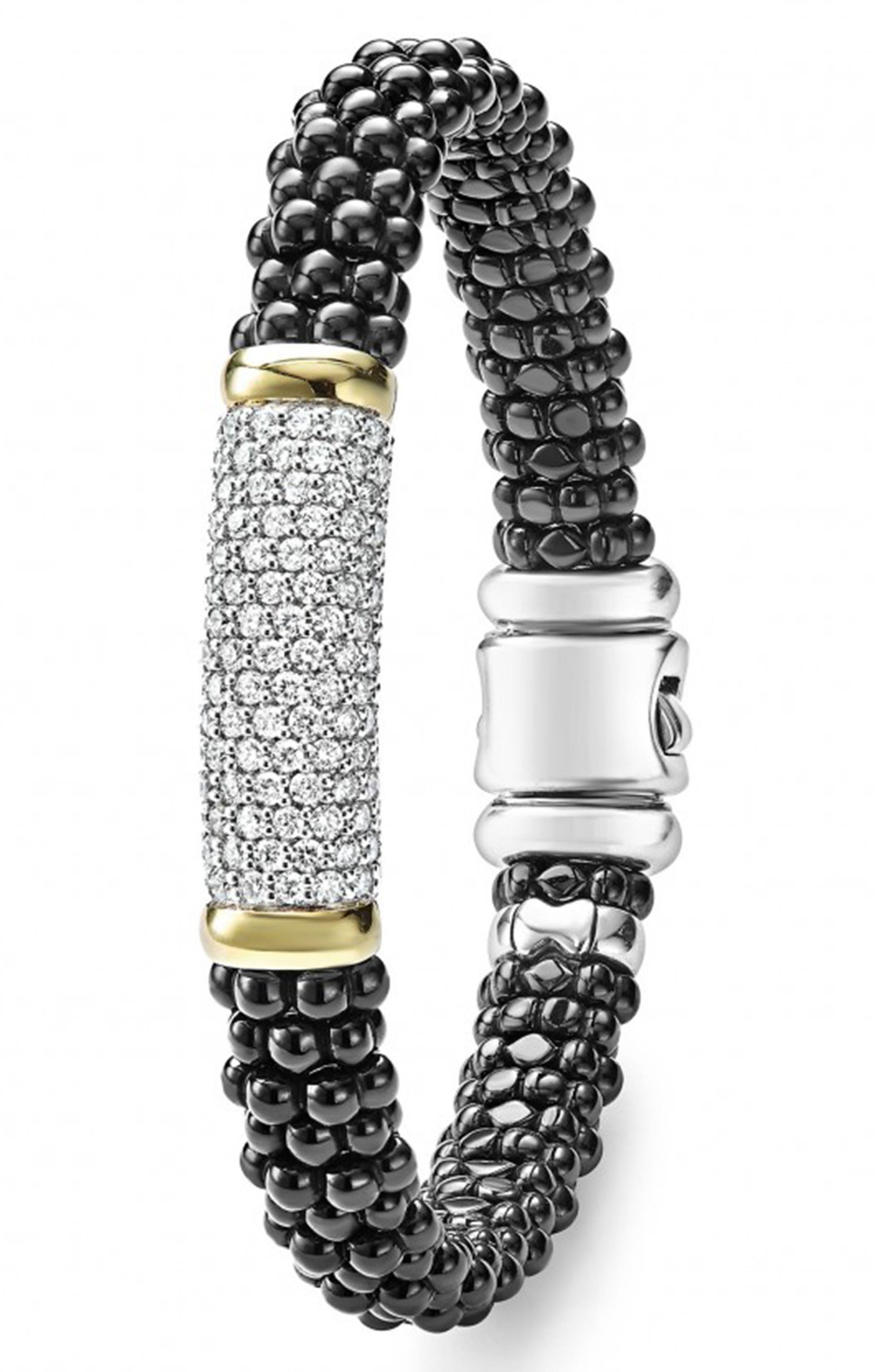 'Black Caviar' Diamond Rope Bracelet,                             Alternate thumbnail 2, color,                             Black Caviar/ Gold