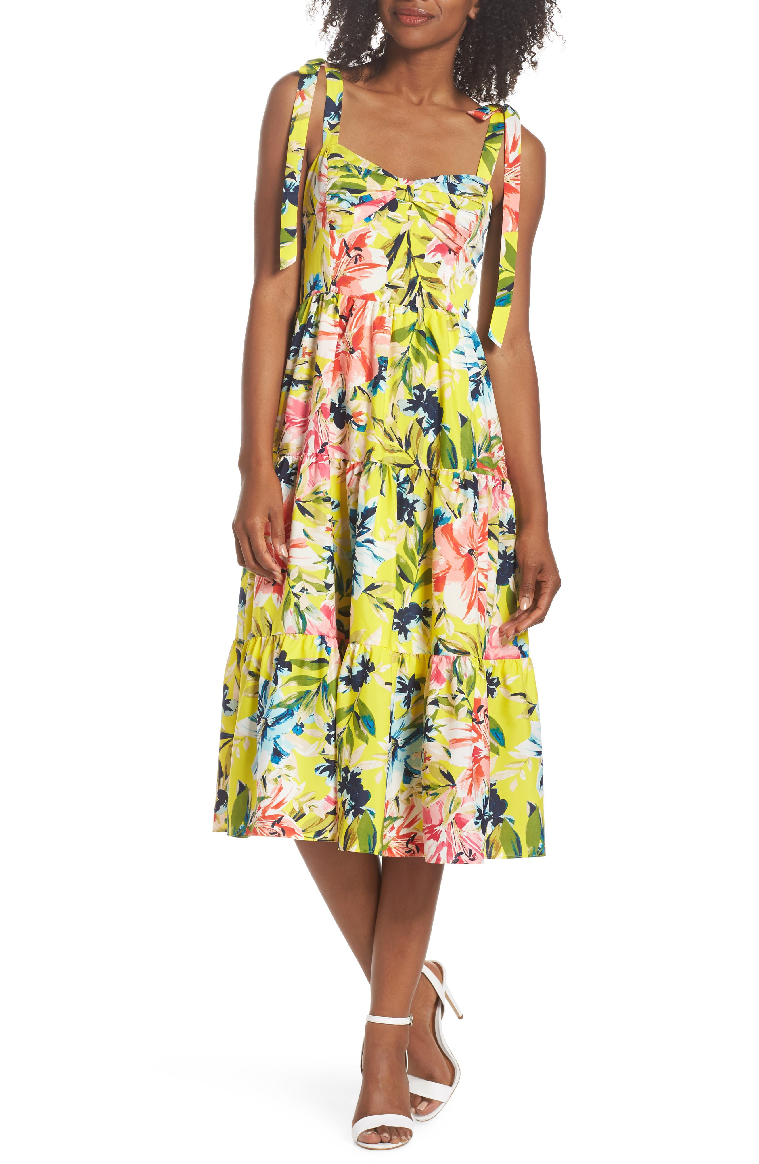 Bow Front Tie Strap Dress,                         Main,                         color, Yellow