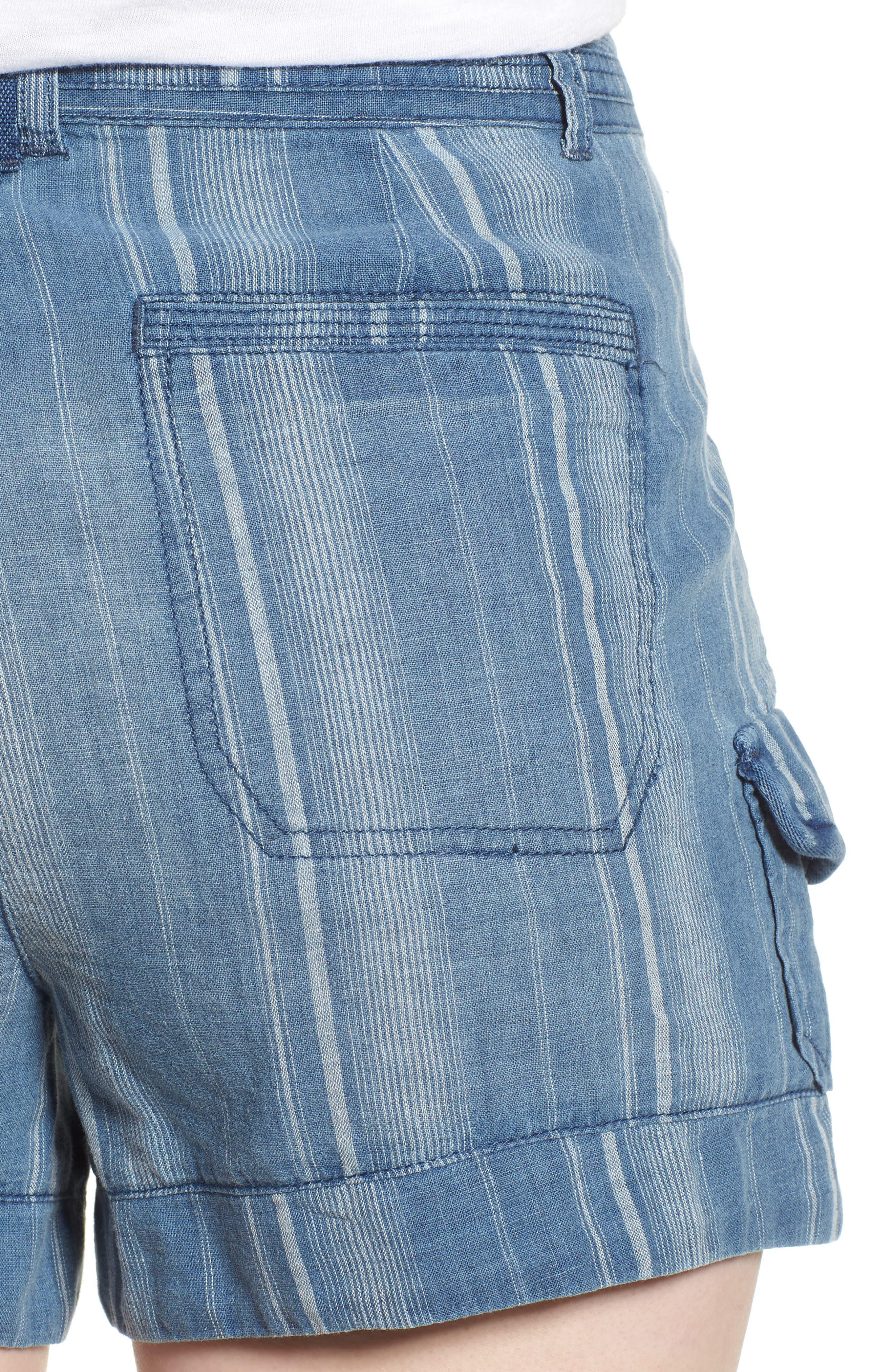 High Rise Striped Shorts,                             Alternate thumbnail 4, color,                             Blue Stripe