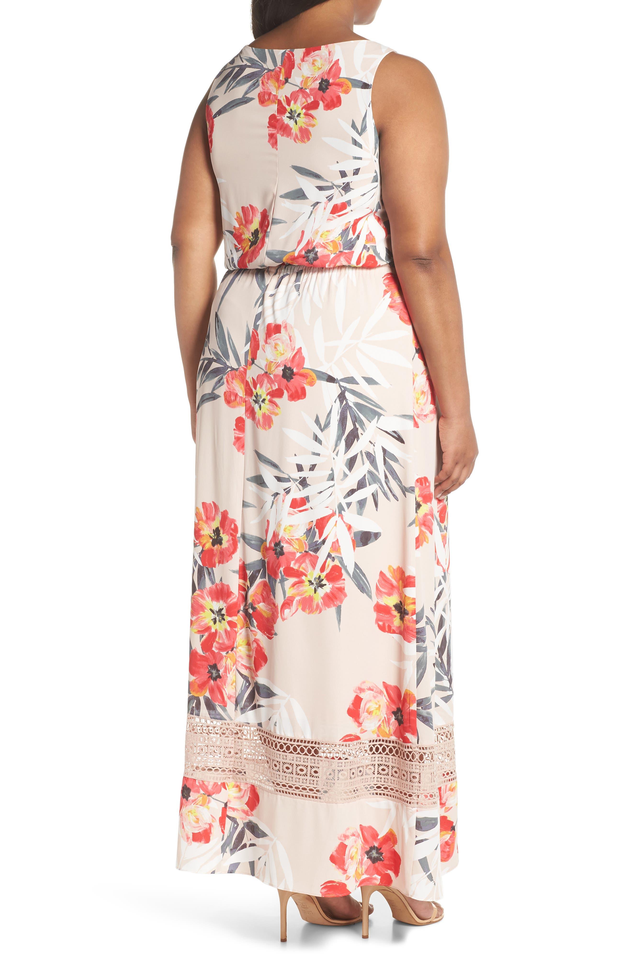 Tropical Breeze Floral Maxi Dress,                             Alternate thumbnail 2, color,                             Geranium Multi