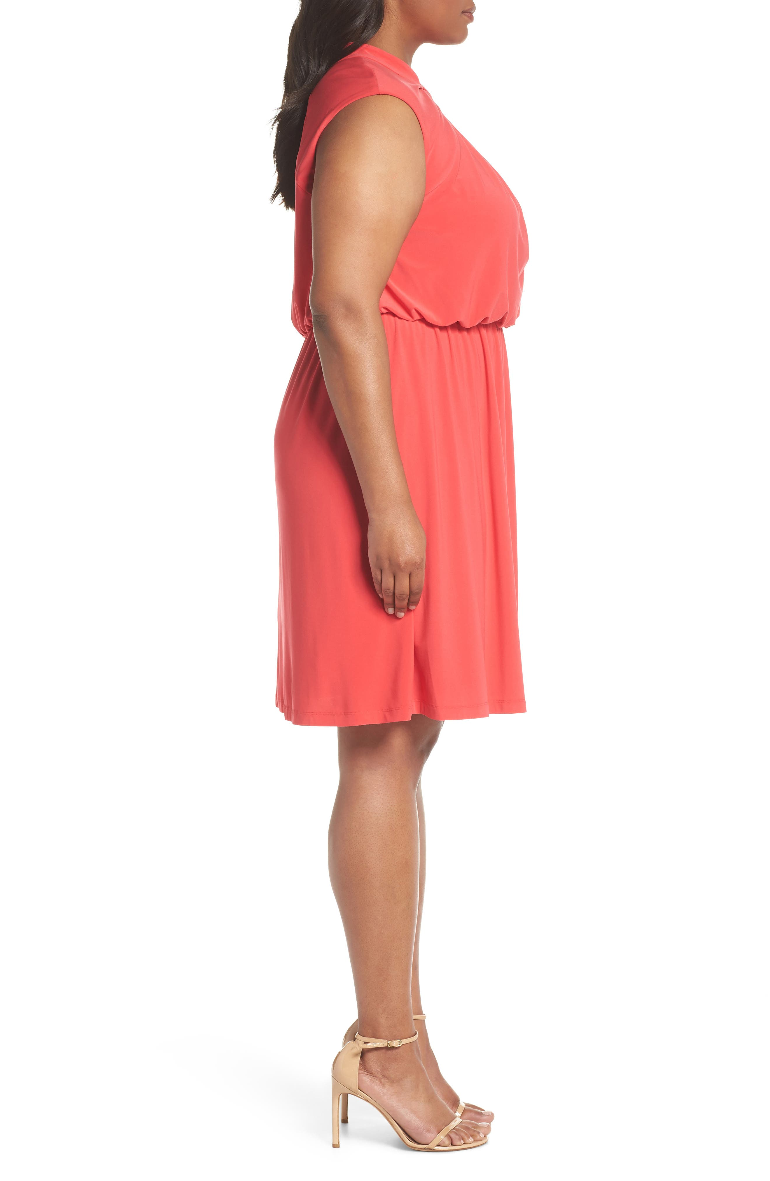 Twist Neck Jersey Blouson Dress,                             Alternate thumbnail 3, color,                             Geranium