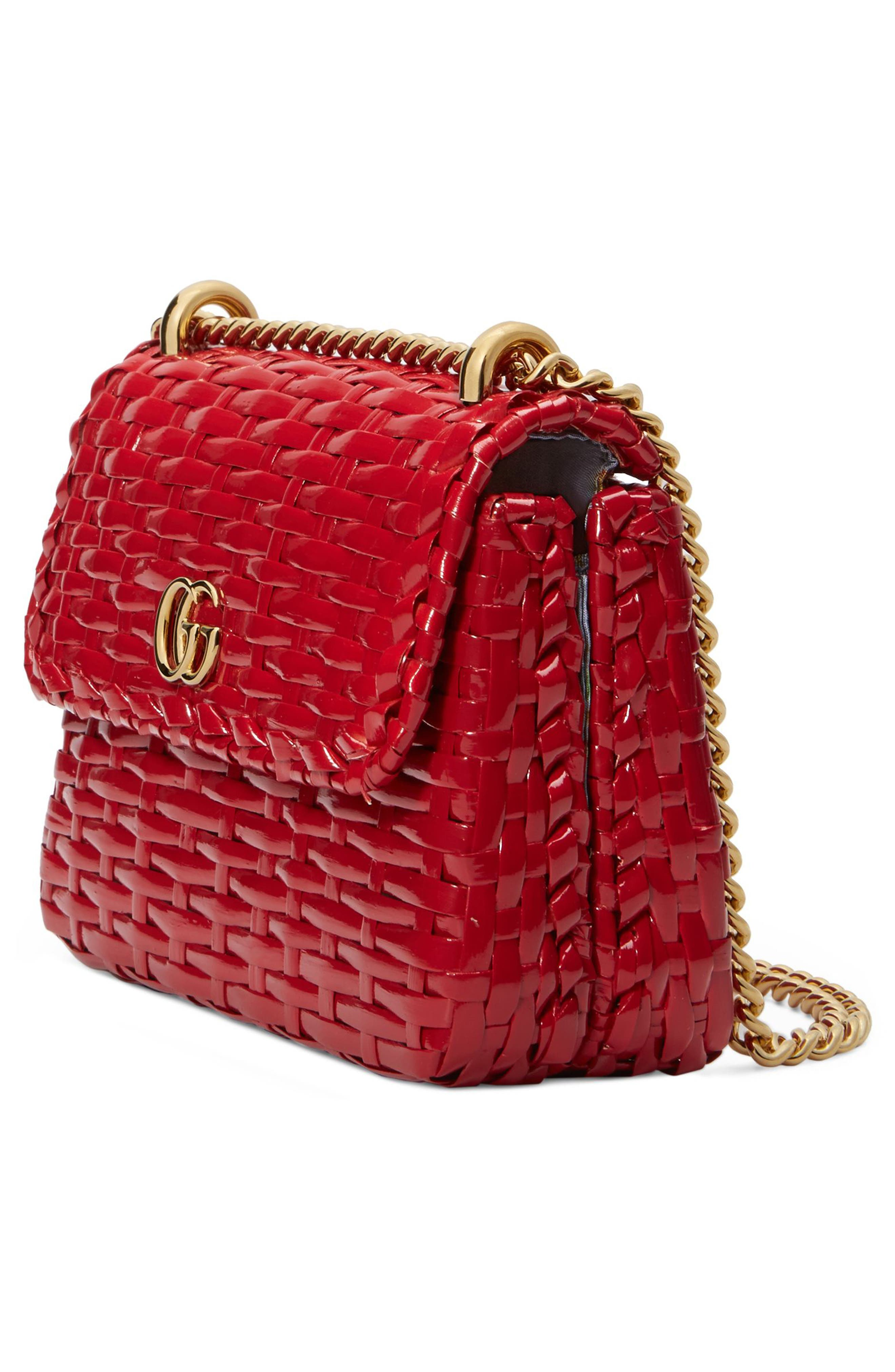 Small Linea Cestino Glazed Wicker Shoulder Bag,                             Alternate thumbnail 4, color,                             Rosso