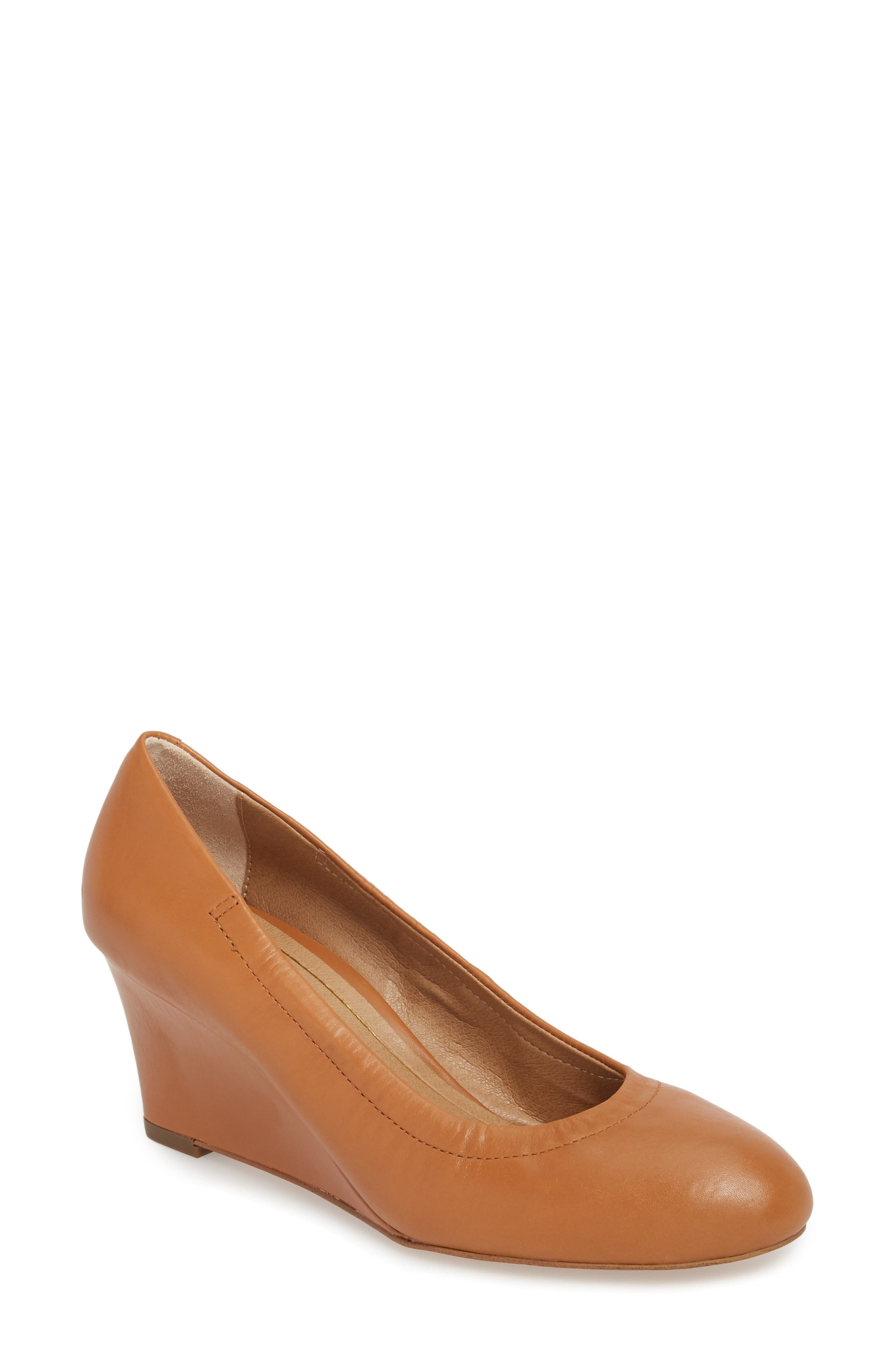 Camden Wedge,                             Main thumbnail 1, color,                             Tan Leather