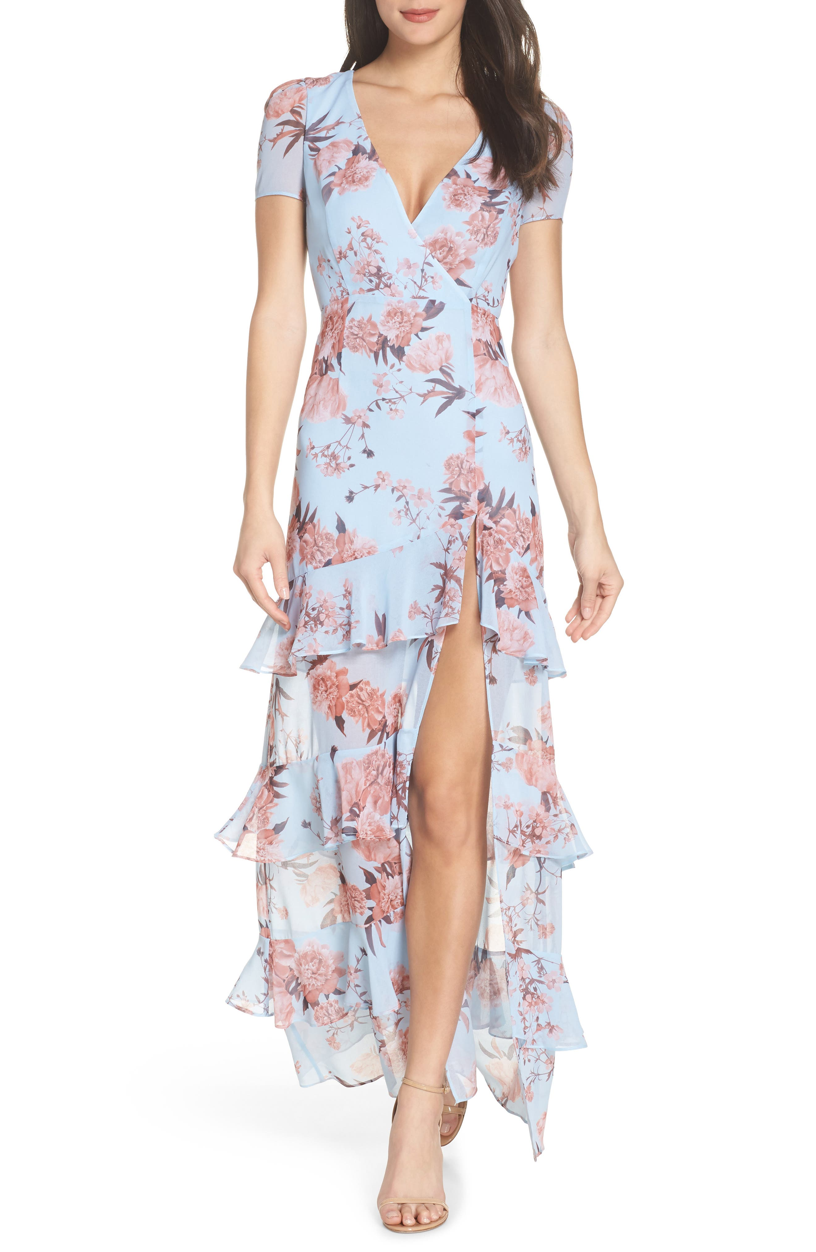 The Pearl Tiered Ruffle Georgette Gown,                         Main,                         color, Sky Blossom Floral