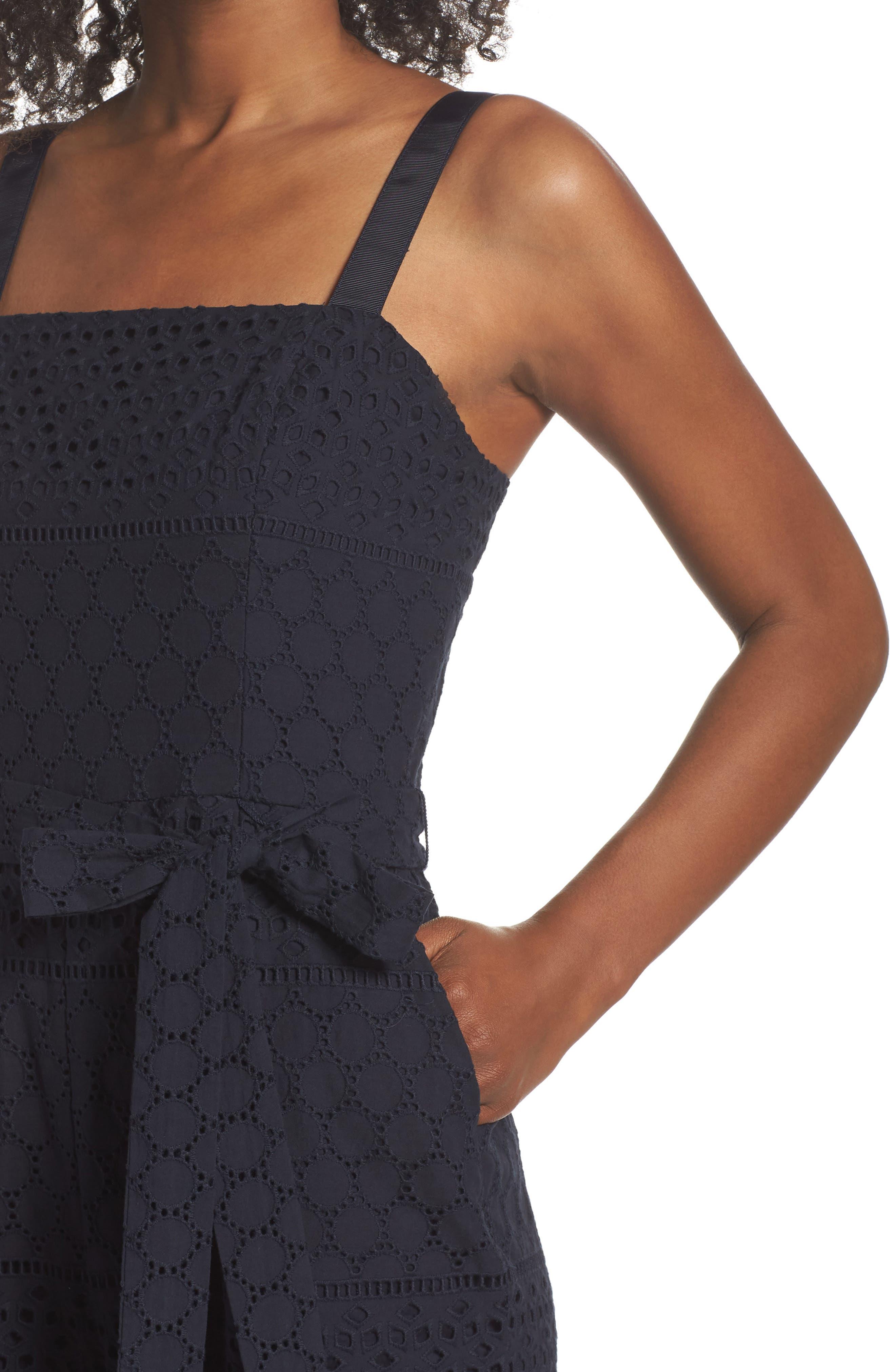 Ribbon Strap Cotton Jumpsuit,                             Alternate thumbnail 4, color,                             Navy