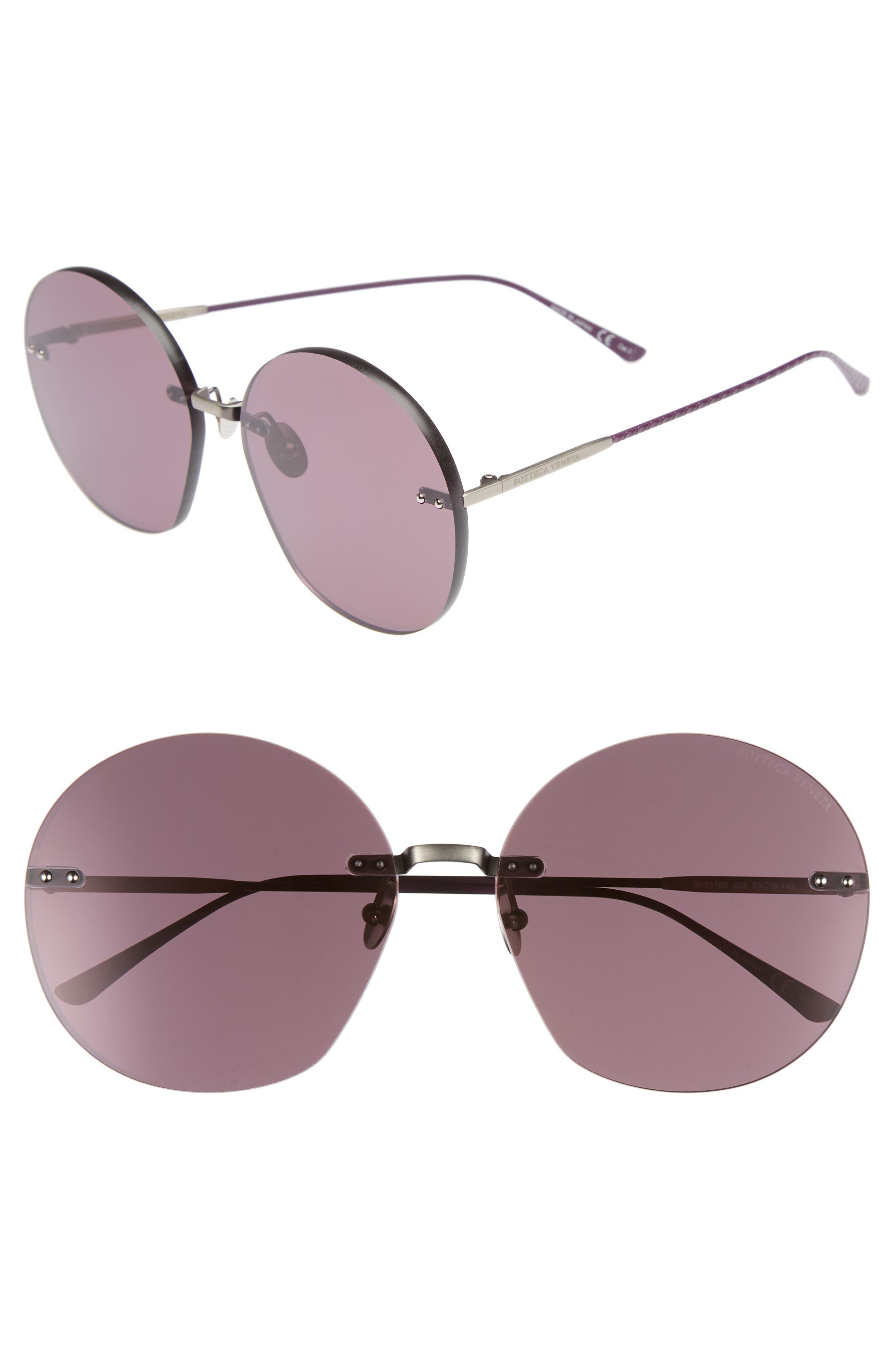 Bottega Veneta 63mm Round Sunglasses