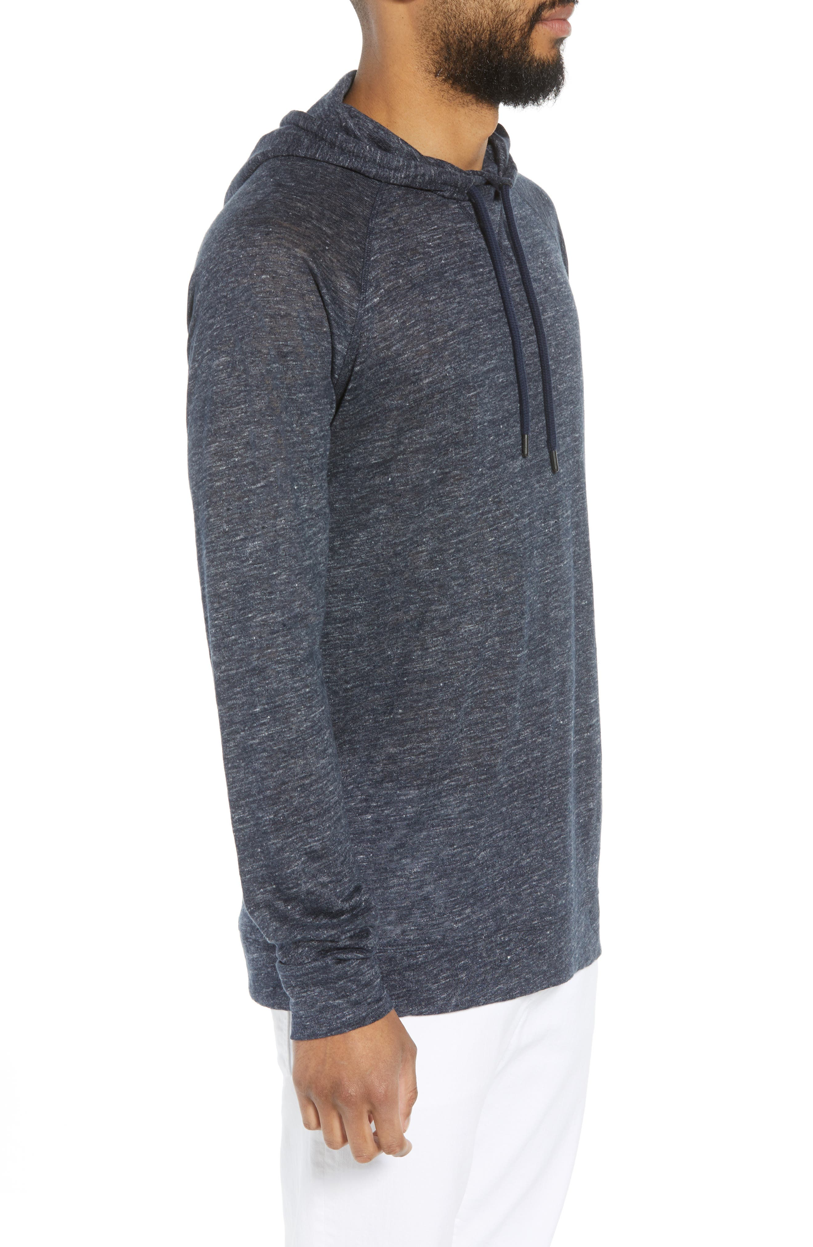 Linen Hoodie,                             Alternate thumbnail 3, color,                             Blue Heather