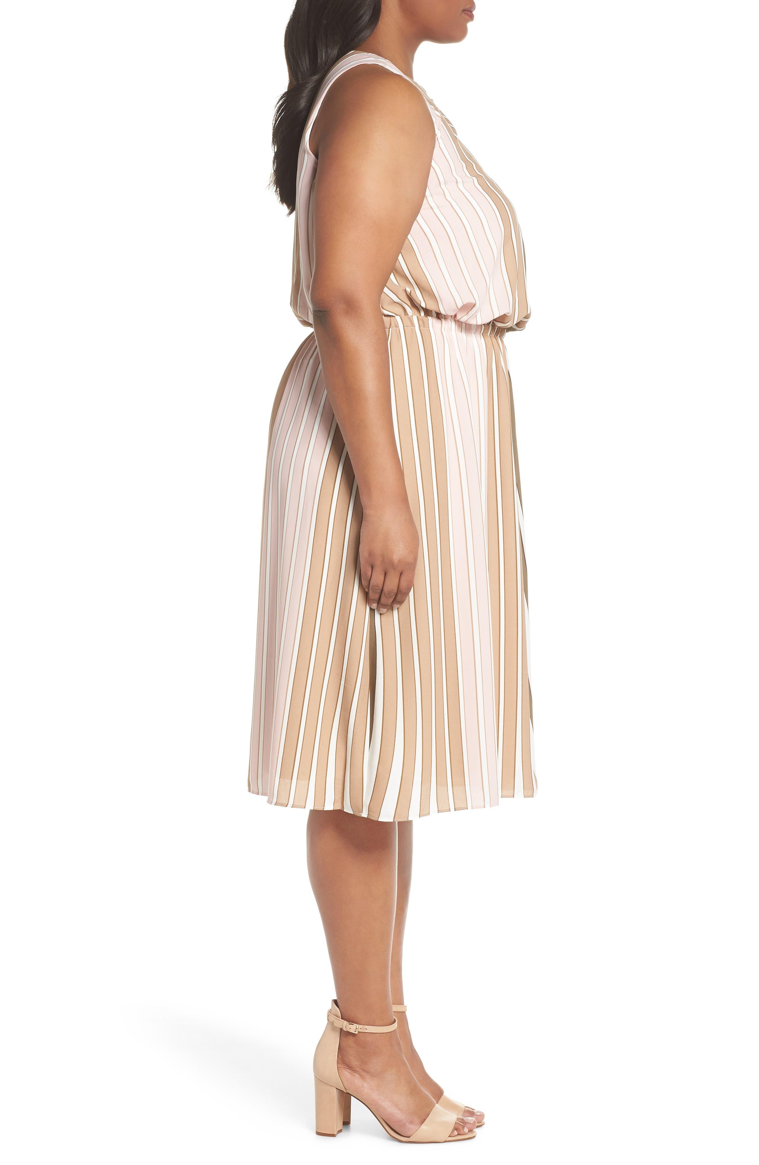Beta Stripe Georgette Fit & Flare Dress,                             Alternate thumbnail 3, color,                             Olive Multi