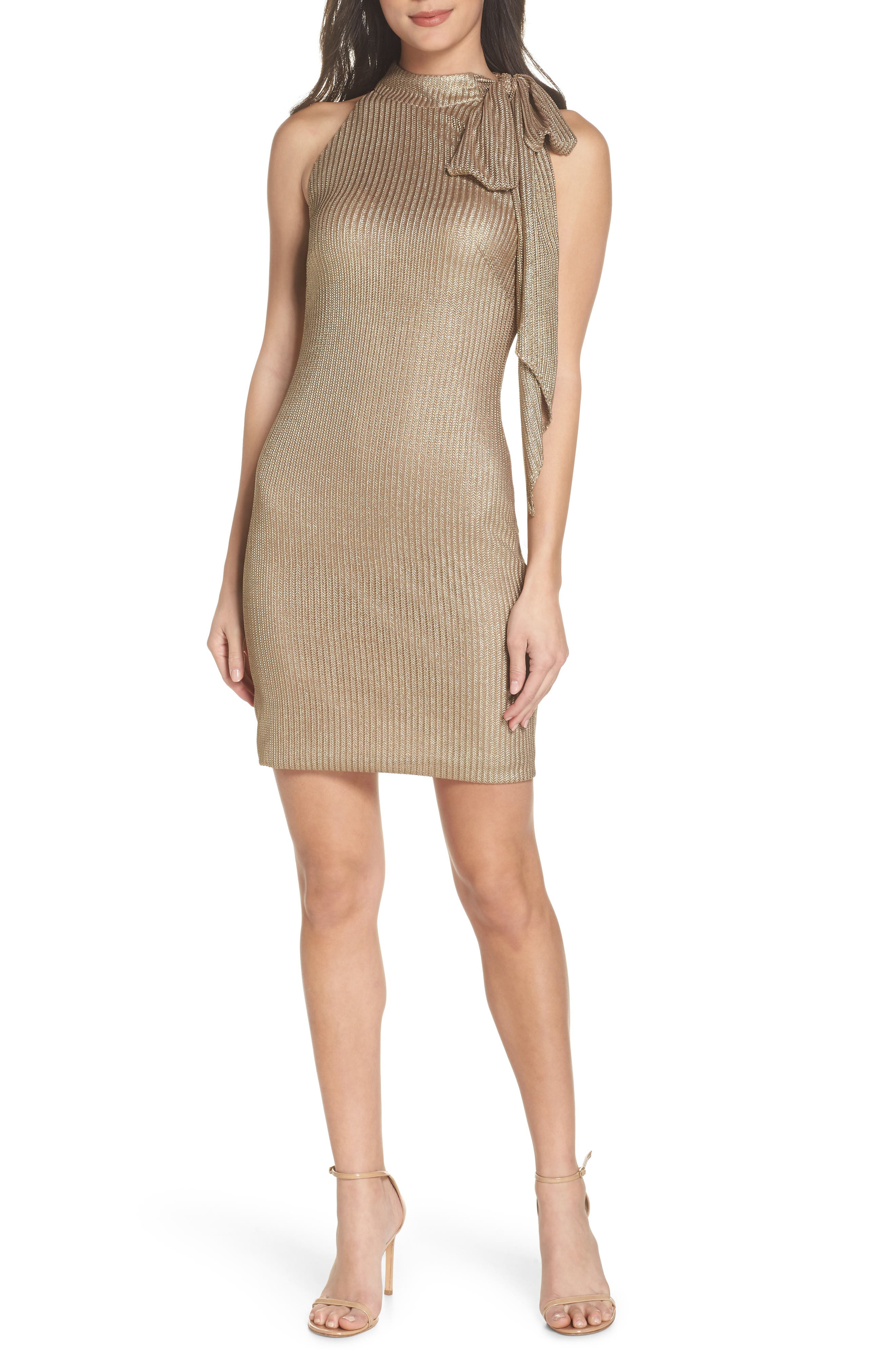 Tie Neck Body-Con Dress,                             Main thumbnail 1, color,                             Gold
