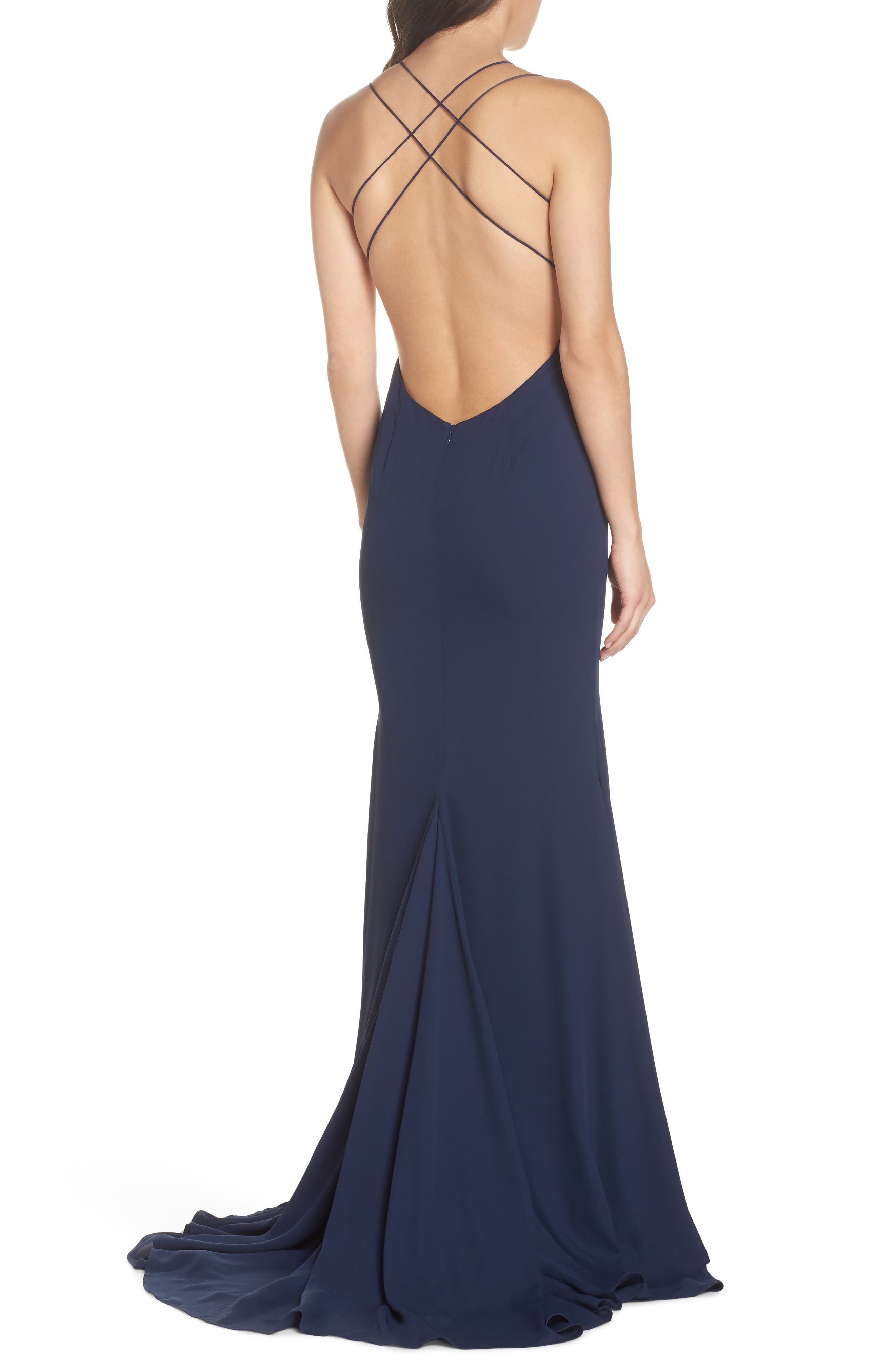 Fame & Partners Surreal Dreamer Cutout Gown,                             Alternate thumbnail 2, color,                             Navy