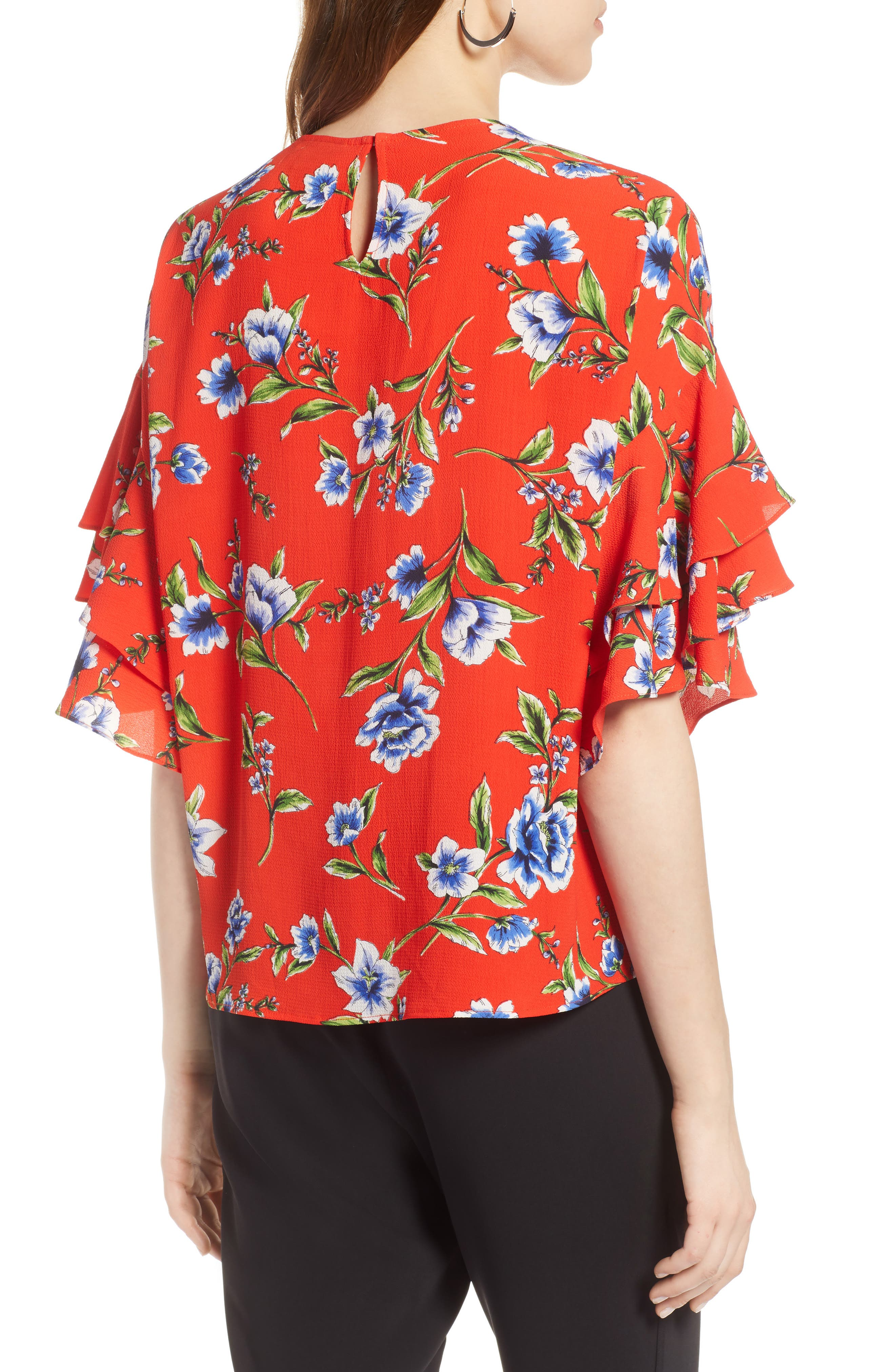 Ruffle Sleeve Print Top,                             Alternate thumbnail 2, color,                             Red Blossom Print