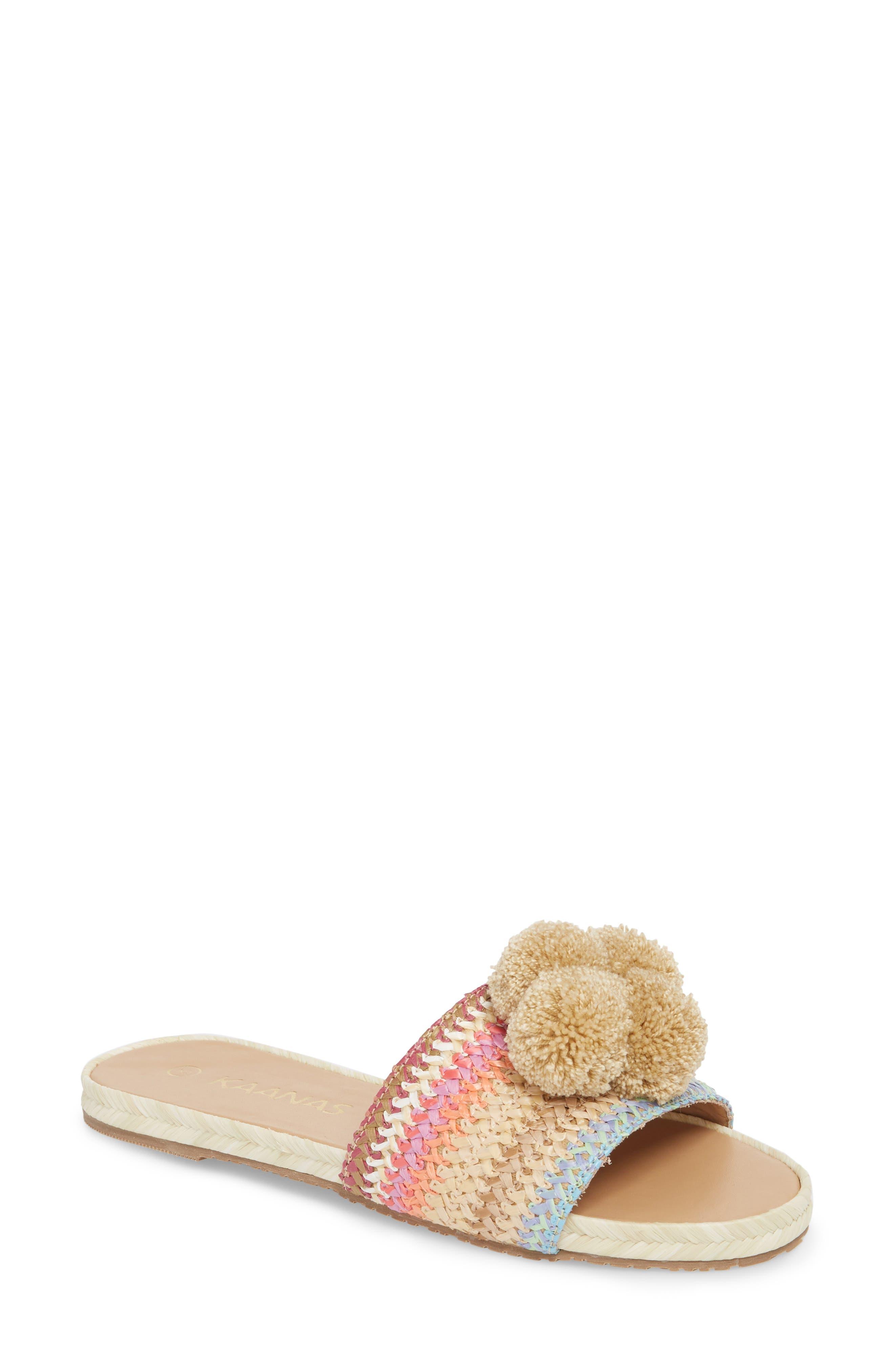Santa Helena Pom Slide Sandal,                             Main thumbnail 1, color,                             Bright Multi