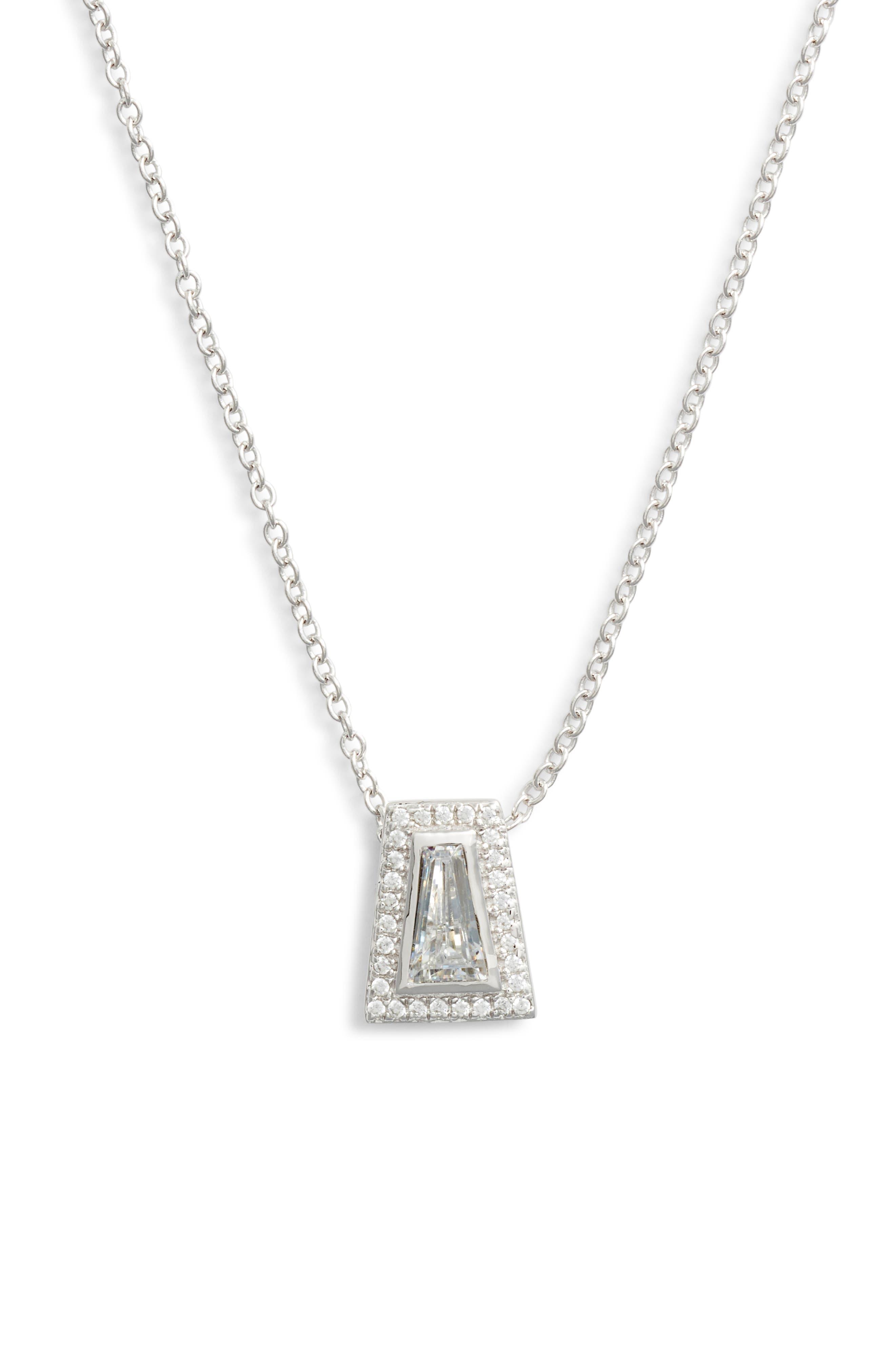 Bezel Pendant Necklace,                         Main,                         color, Silver/ Clear