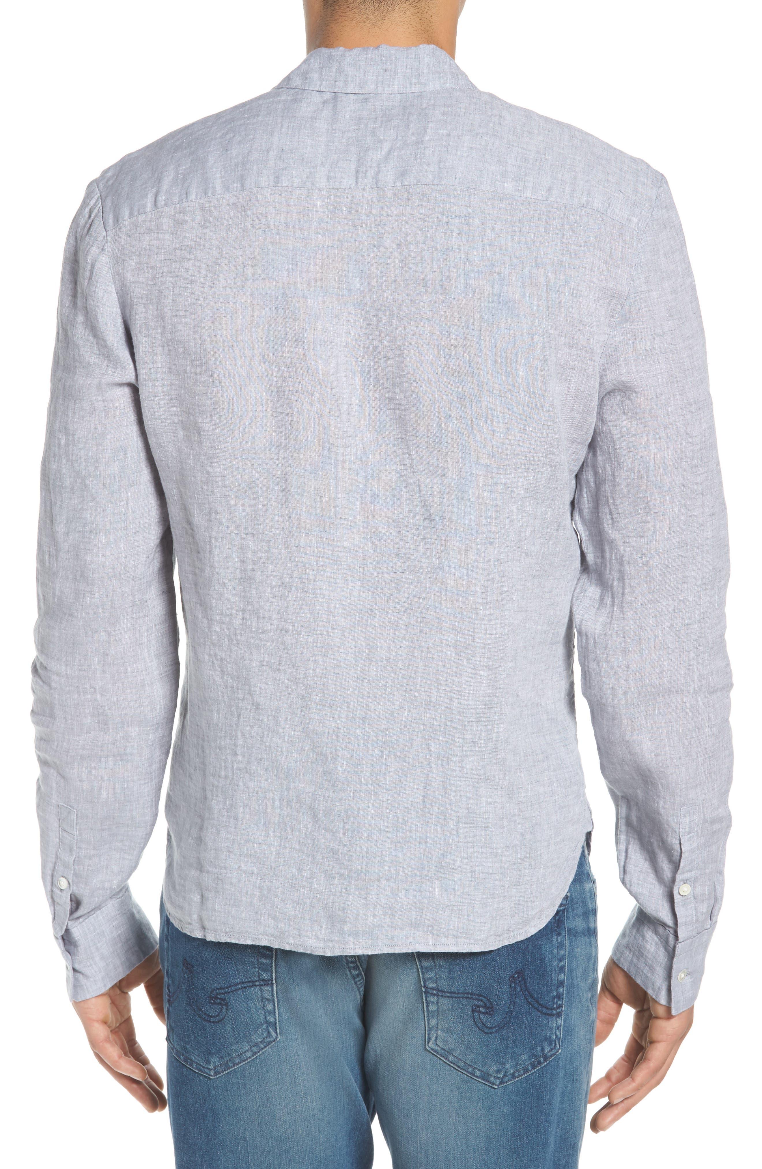 Slim Fit Linen Sport Shirt,                             Alternate thumbnail 3, color,                             Chambray