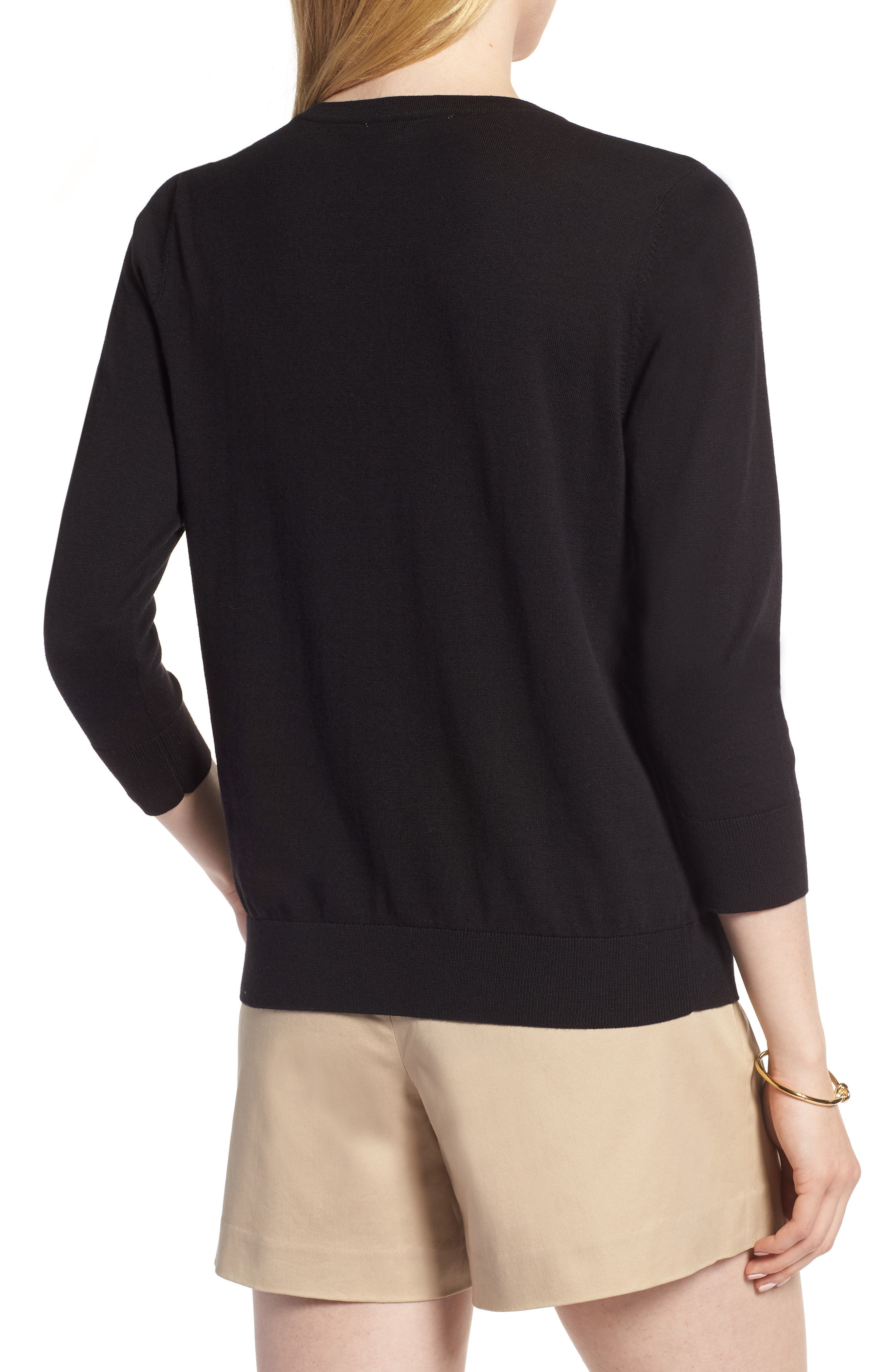 Cotton Blend Cardigan,                             Alternate thumbnail 2, color,                             Black