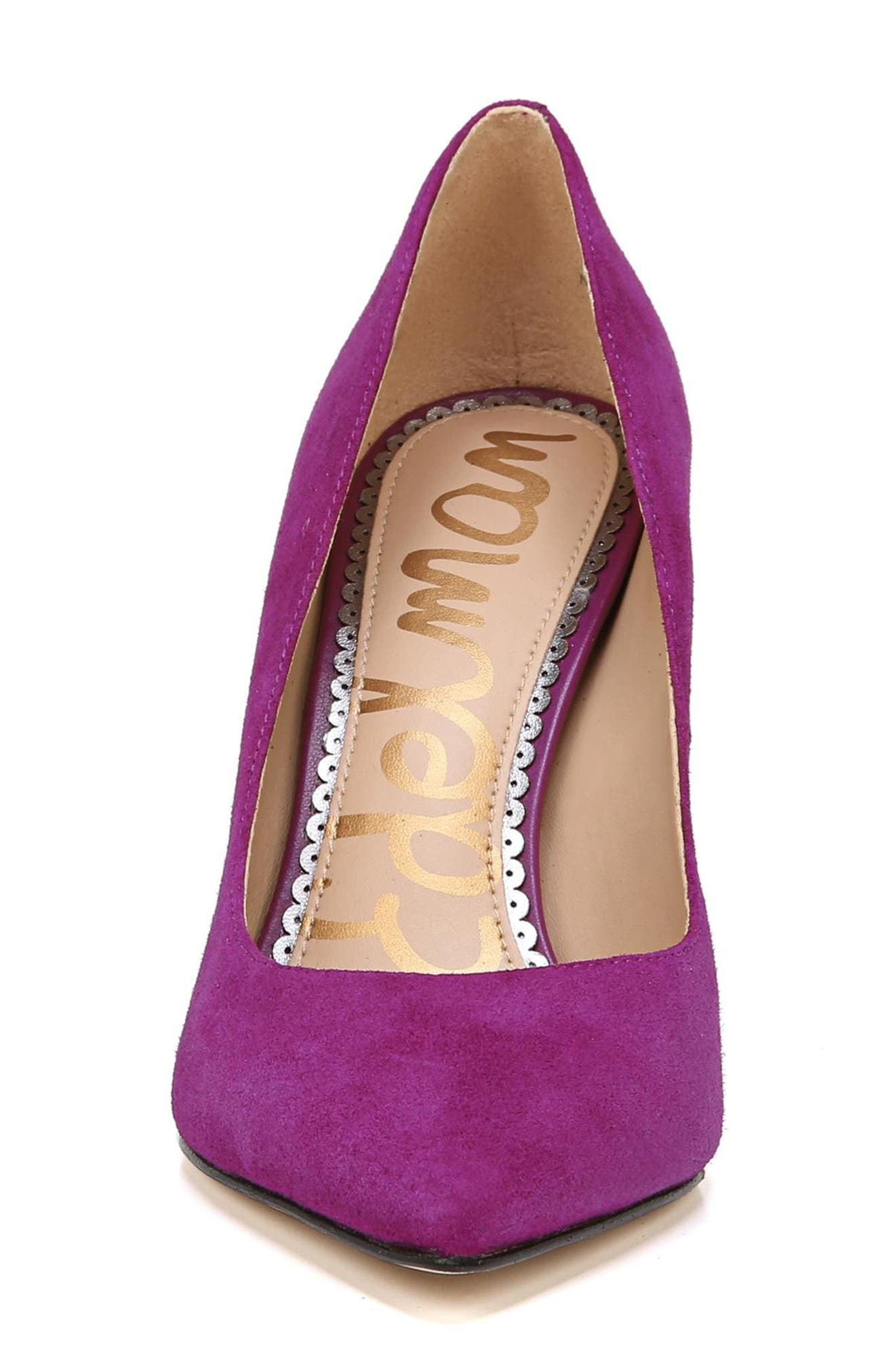 Hazel Pointy Toe Pump,                             Alternate thumbnail 3, color,                             Purple Plum Suede
