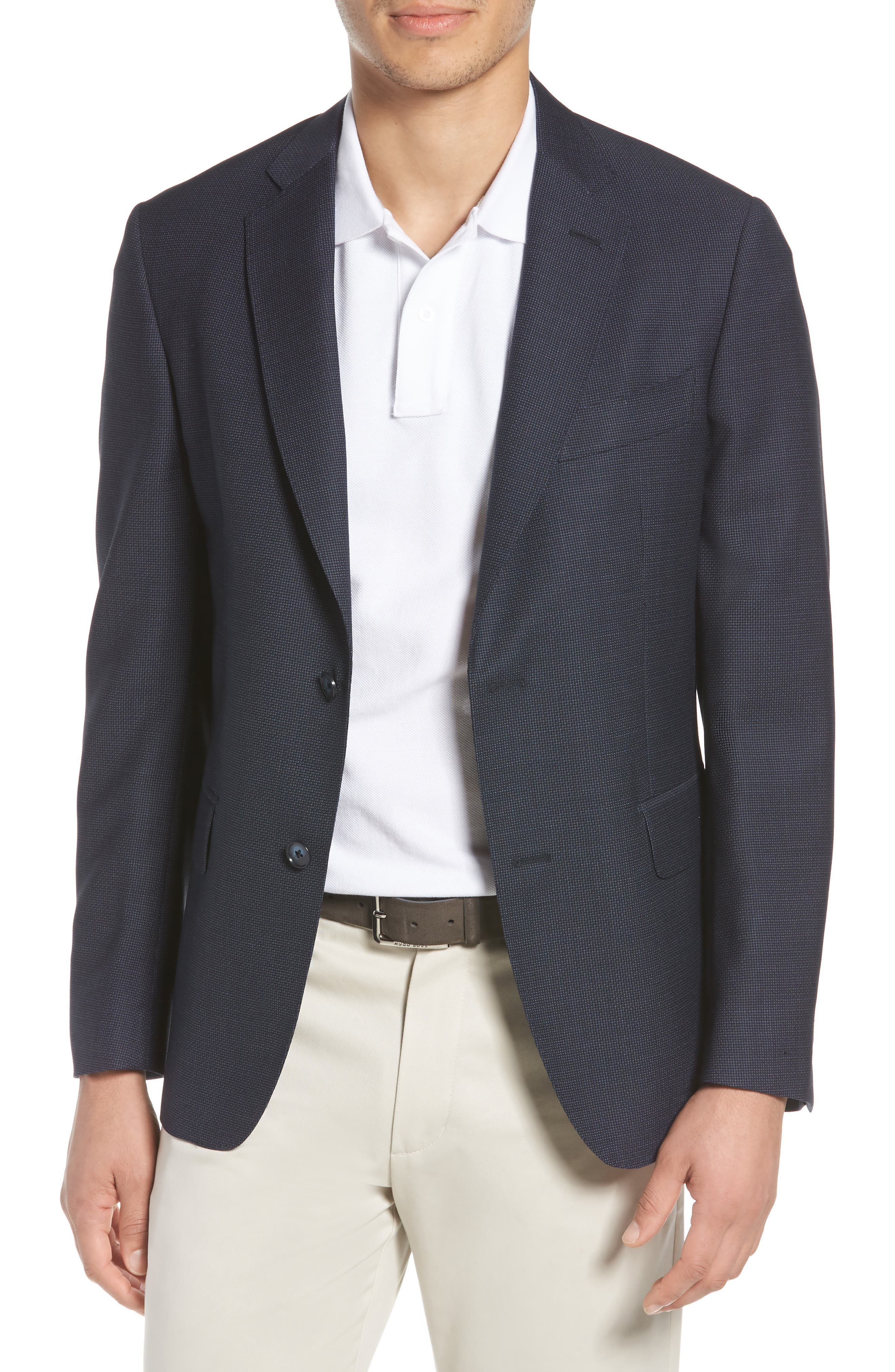Traditional Fit Basket Weave Wool Sport Coat,                             Main thumbnail 1, color,                             Navy