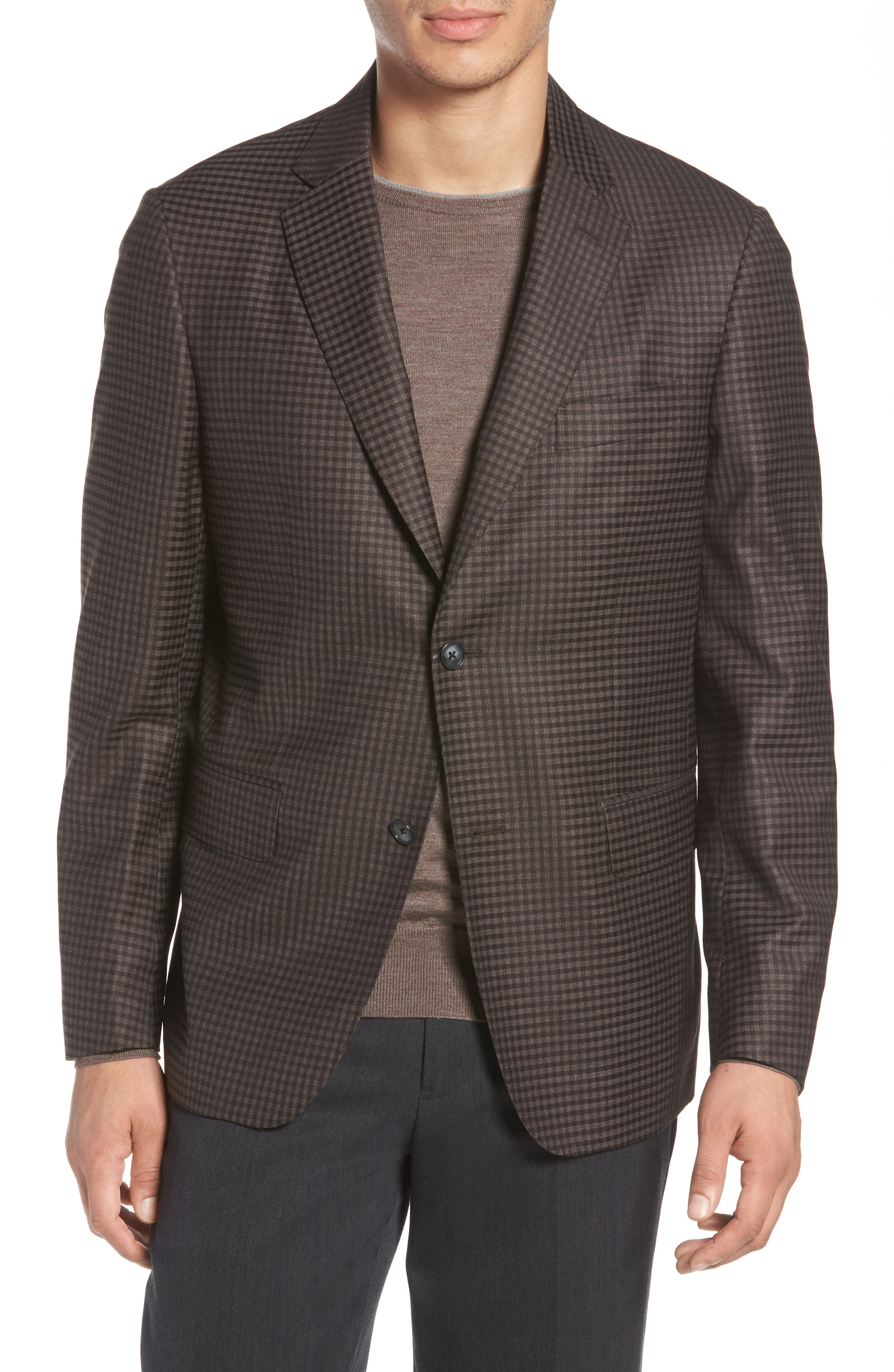 Traditional Fit Check Wool Sport Coat,                         Main,                         color, Graphite
