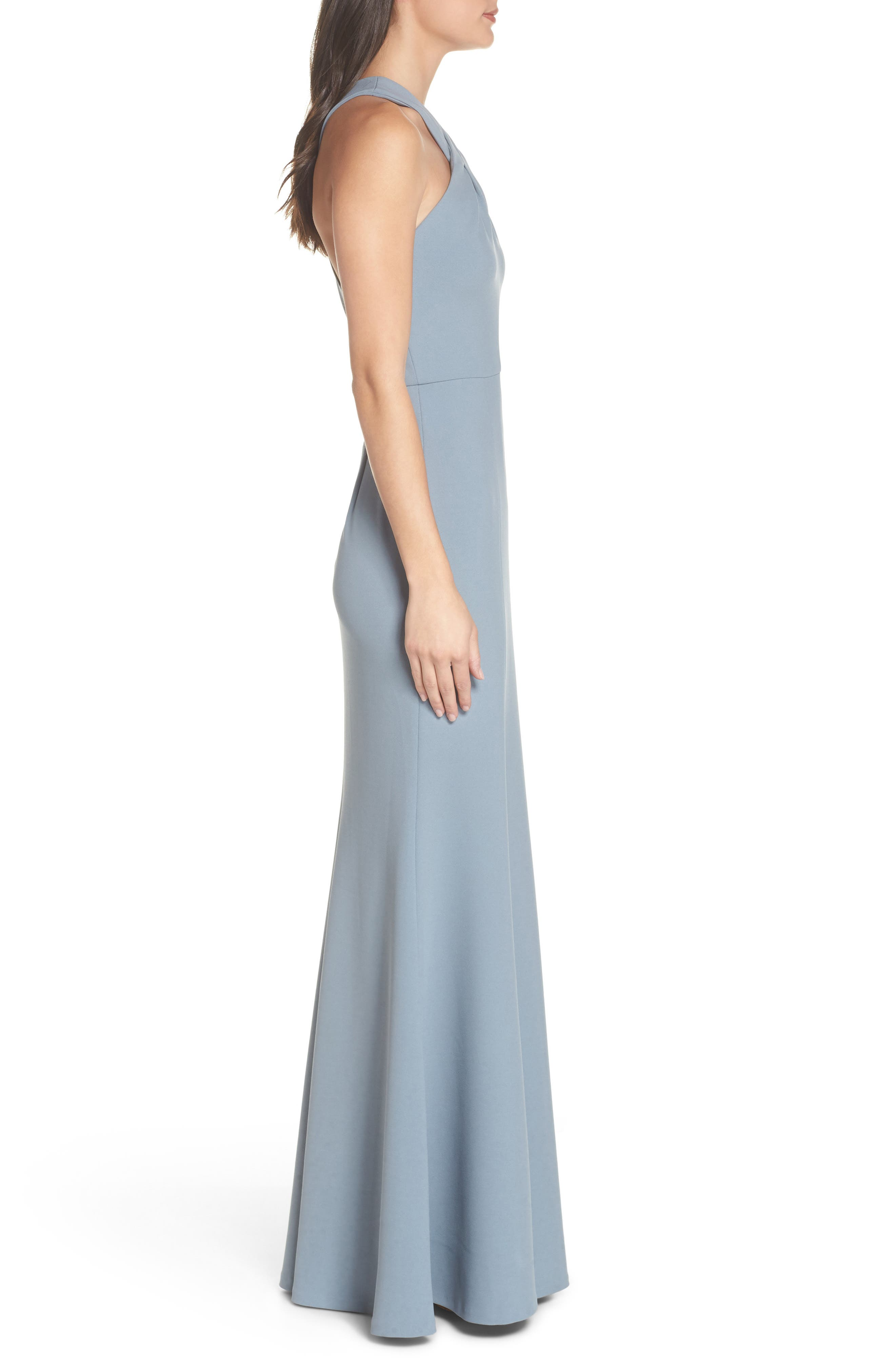 Kayleigh Cross Front Crepe Knit Gown,                             Alternate thumbnail 3, color,                             Mayan Blue