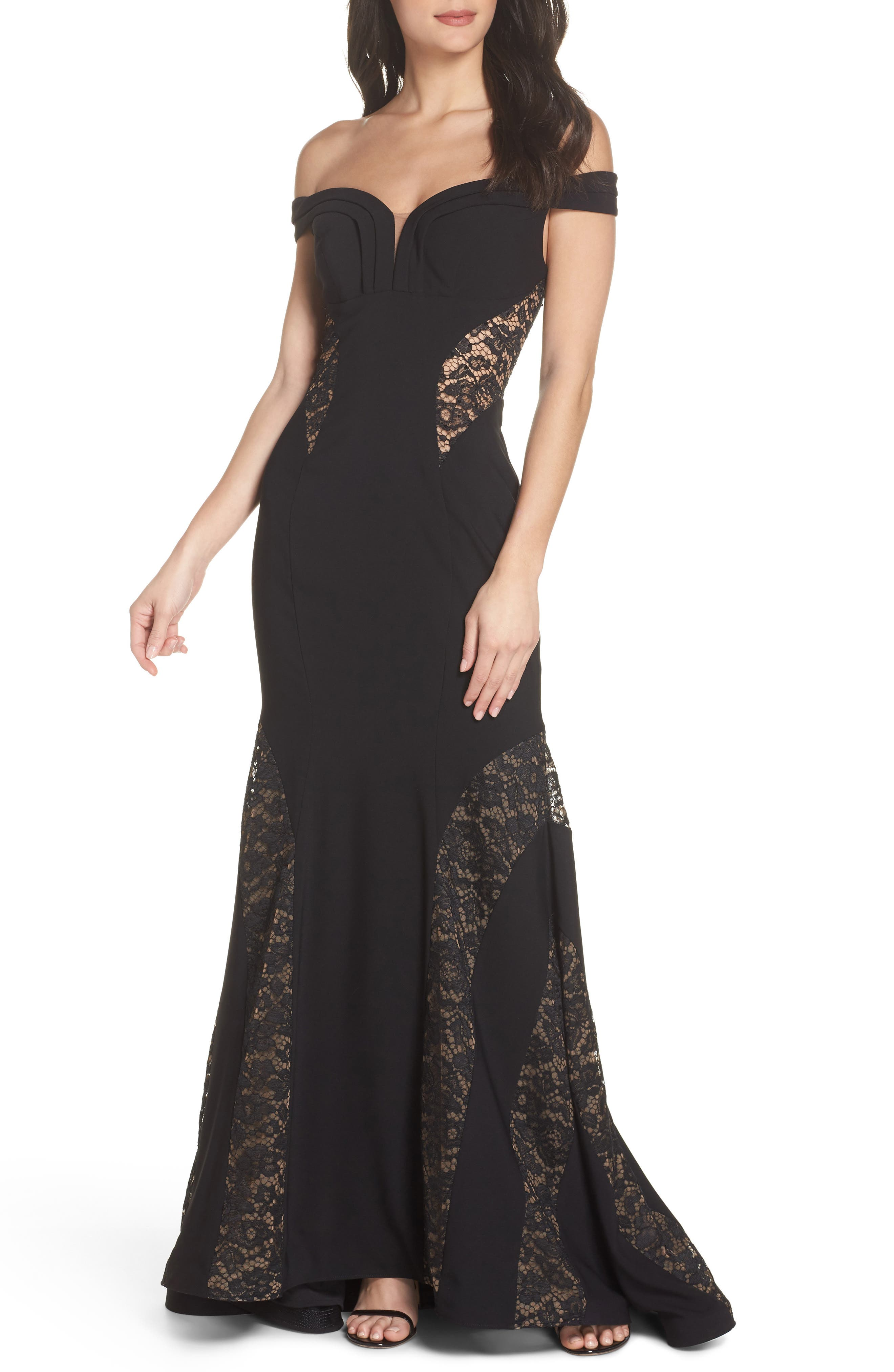 Off the Shoulder Lace Inset Gown,                             Main thumbnail 1, color,                             Black