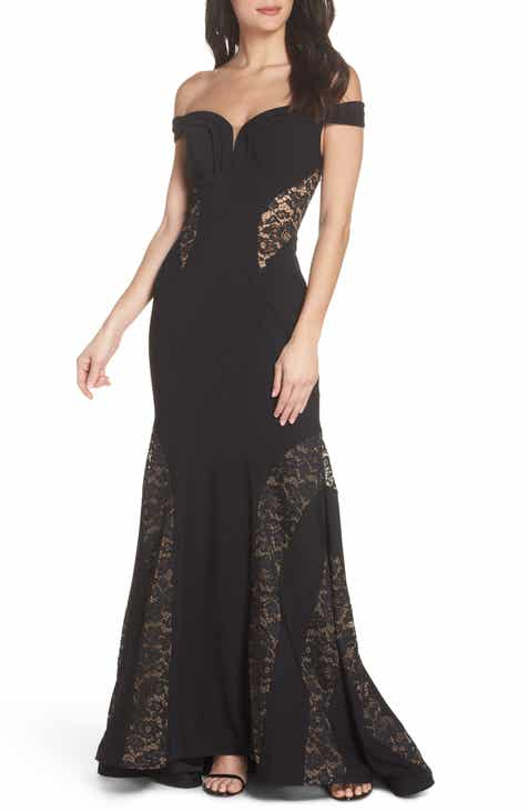 Xscape Off The Shoulder Lace Inset Gown Regular Petite