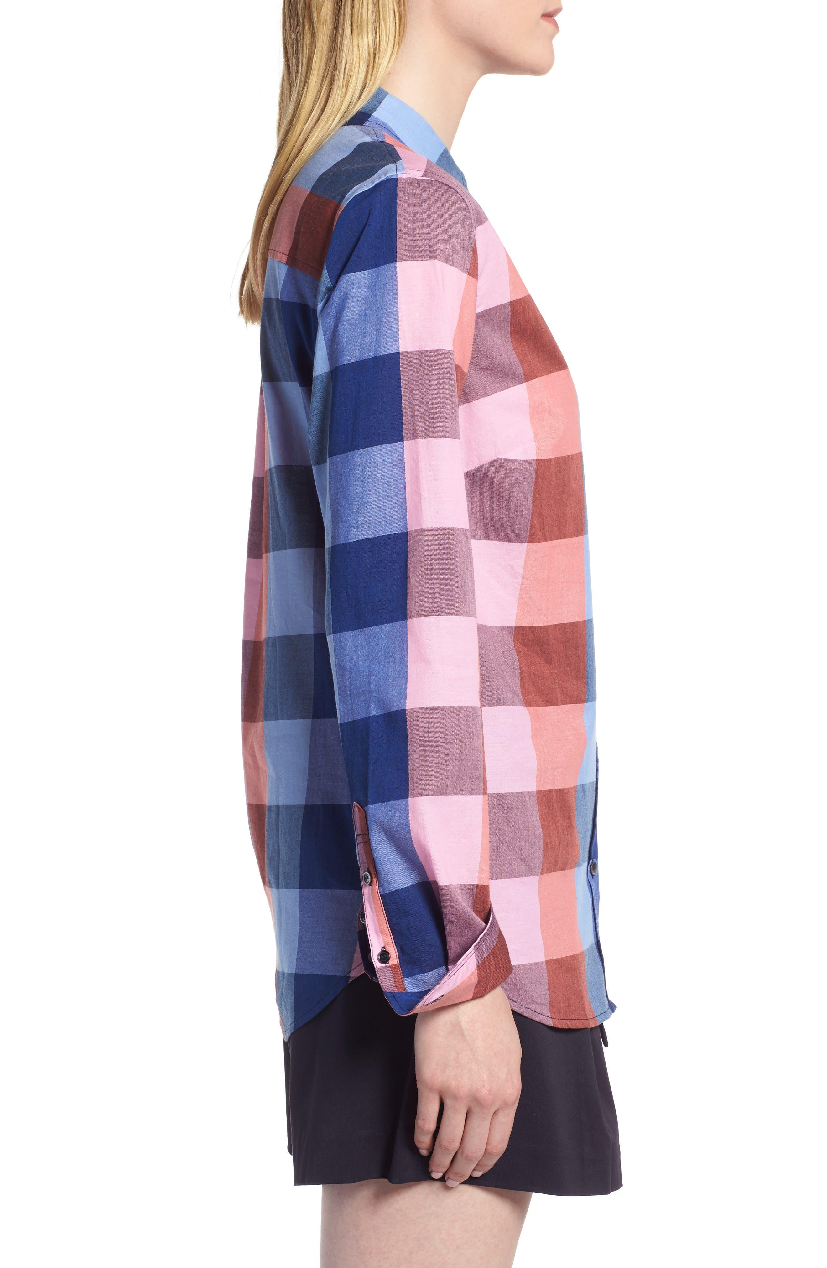 Plaid Cotton Button-Down Shirt,                             Alternate thumbnail 3, color,                             Blue- Pink Plaid