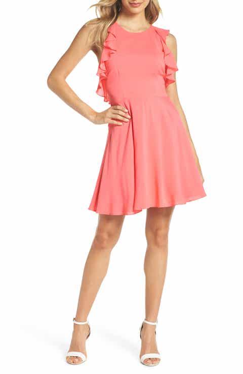 BB Dakota Samantha Ruffled Twill Fit & Flare Dress