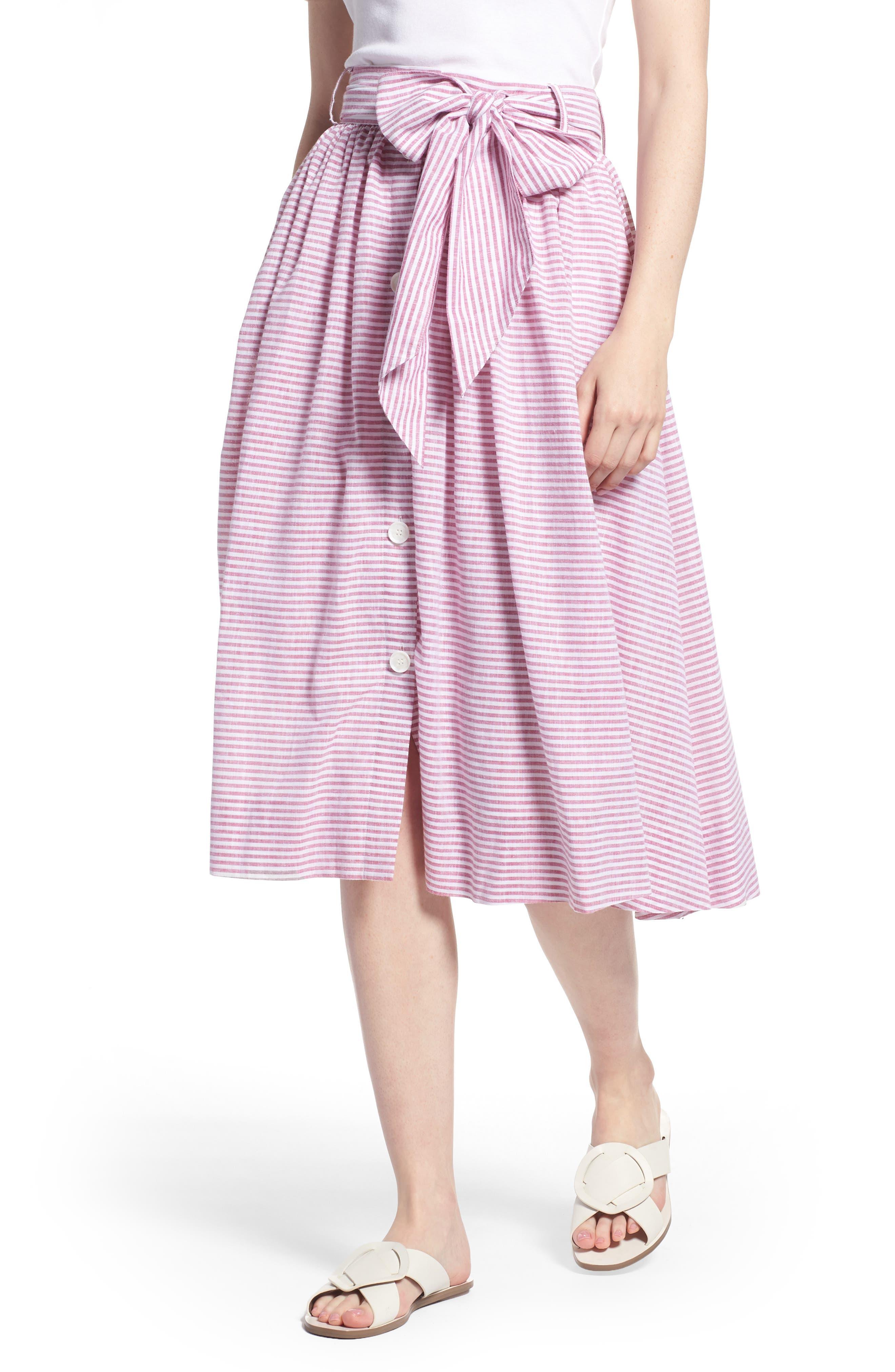 1901 Bow Button Up Stripe Skirt (Regular & Petite)