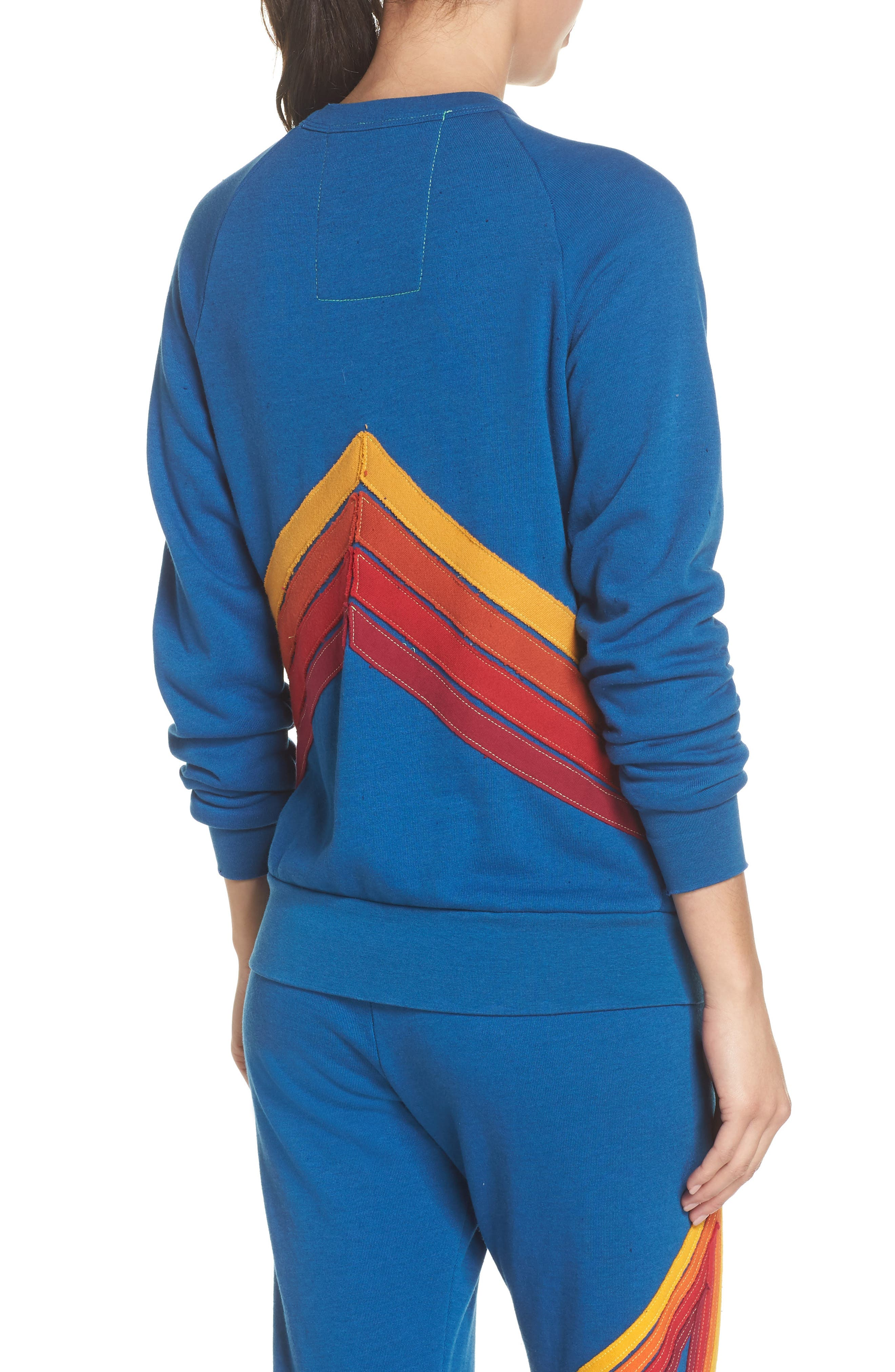 Mountain Stripe Crewneck Sweatshirt,                             Alternate thumbnail 2, color,                             Caribbean/ Red Stripes