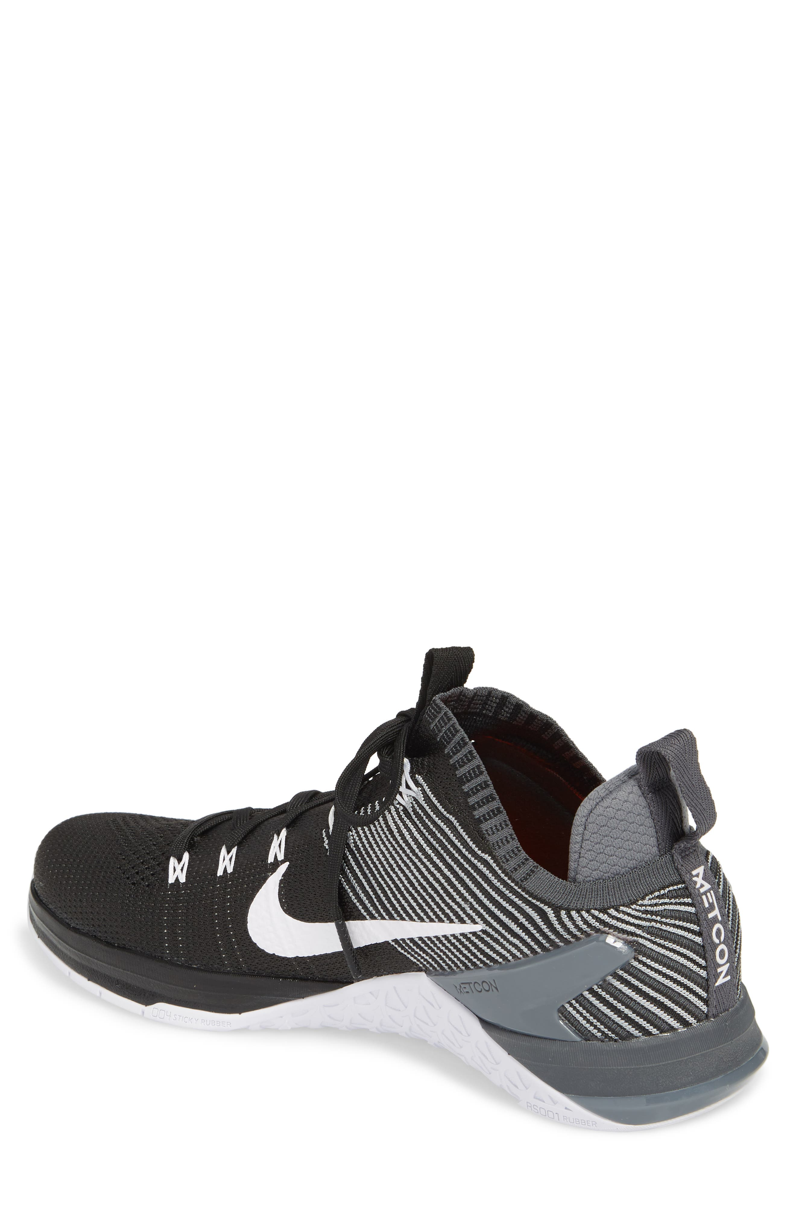 Metcon DSX Flyknit 2 Training Shoe,                             Alternate thumbnail 2, color,                             Black/ White/ Wolf Grey