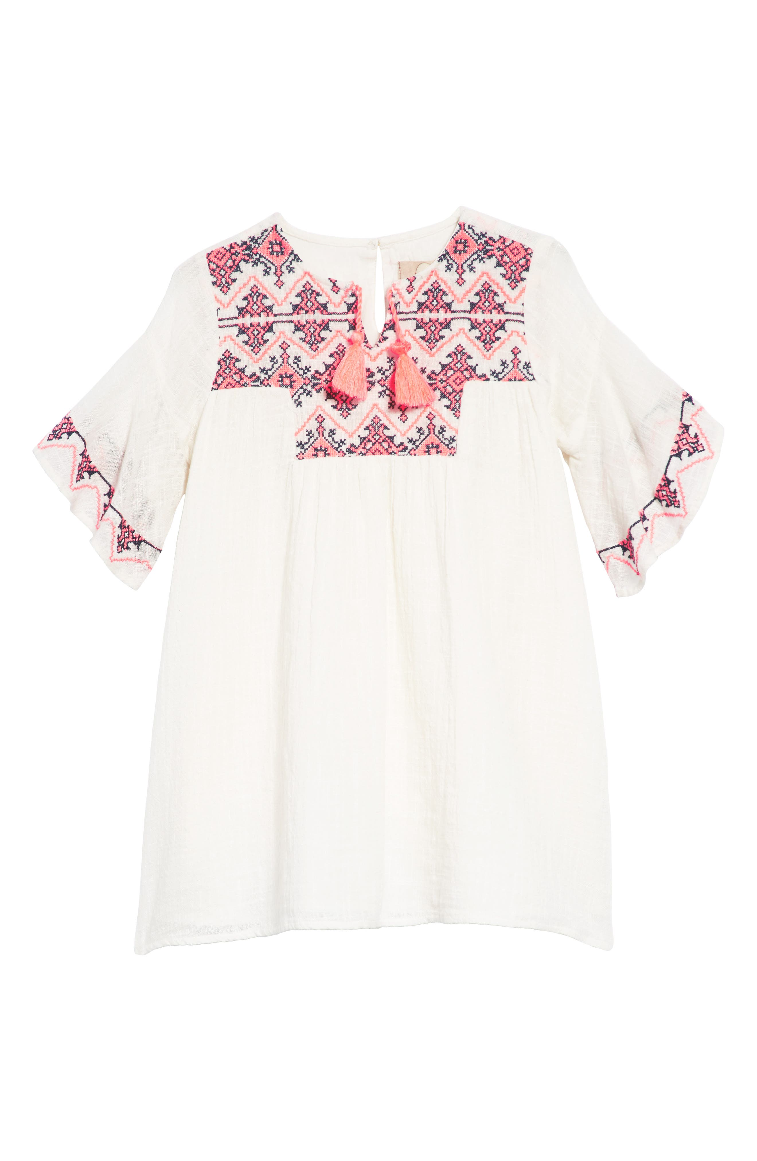 Ava Embroidered Shift Dress,                             Main thumbnail 1, color,                             White